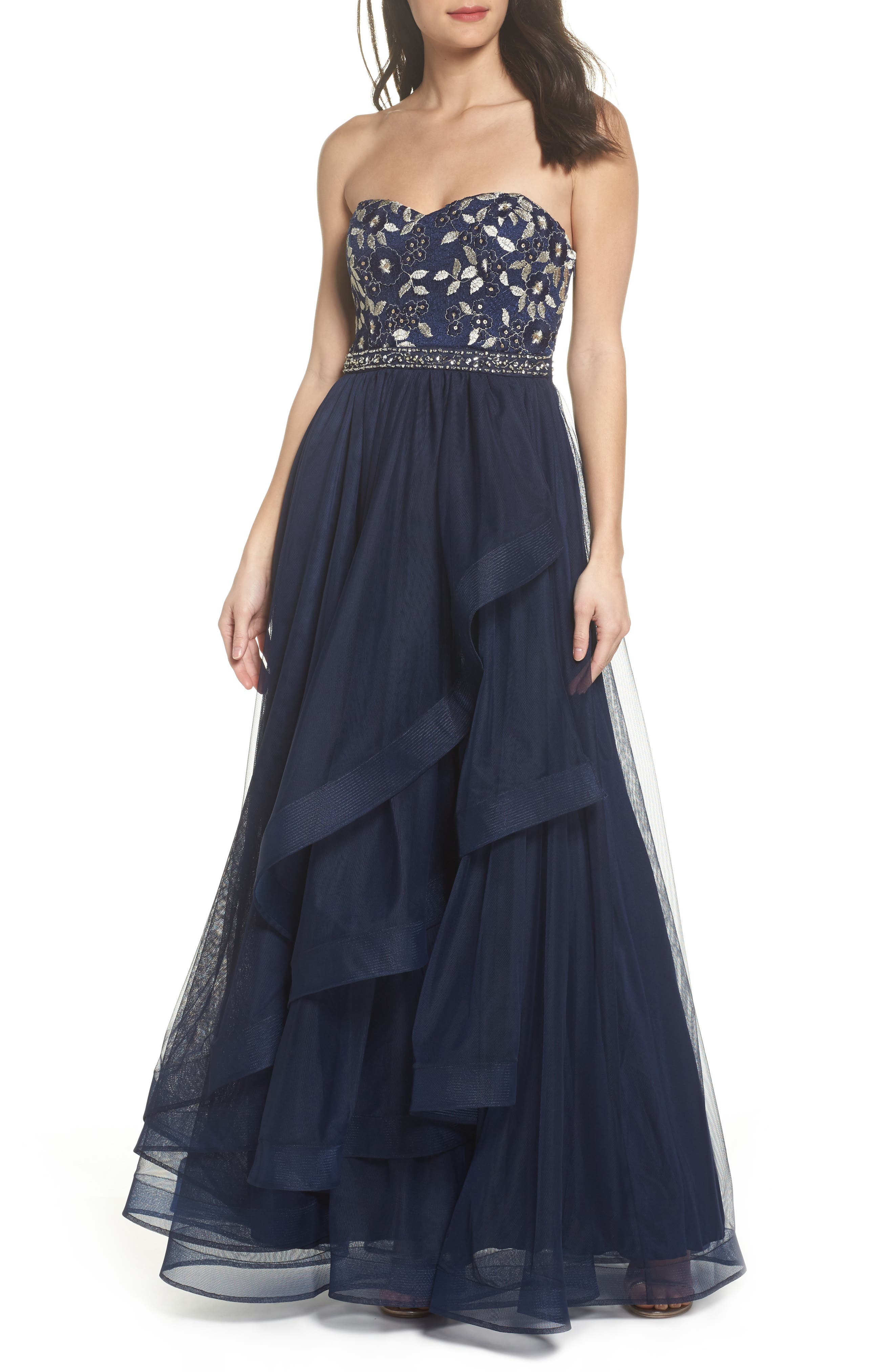 Strapless Lace & Tulle Gown,                             Main thumbnail 1, color,                             NAVY/ CHAMPAGNE