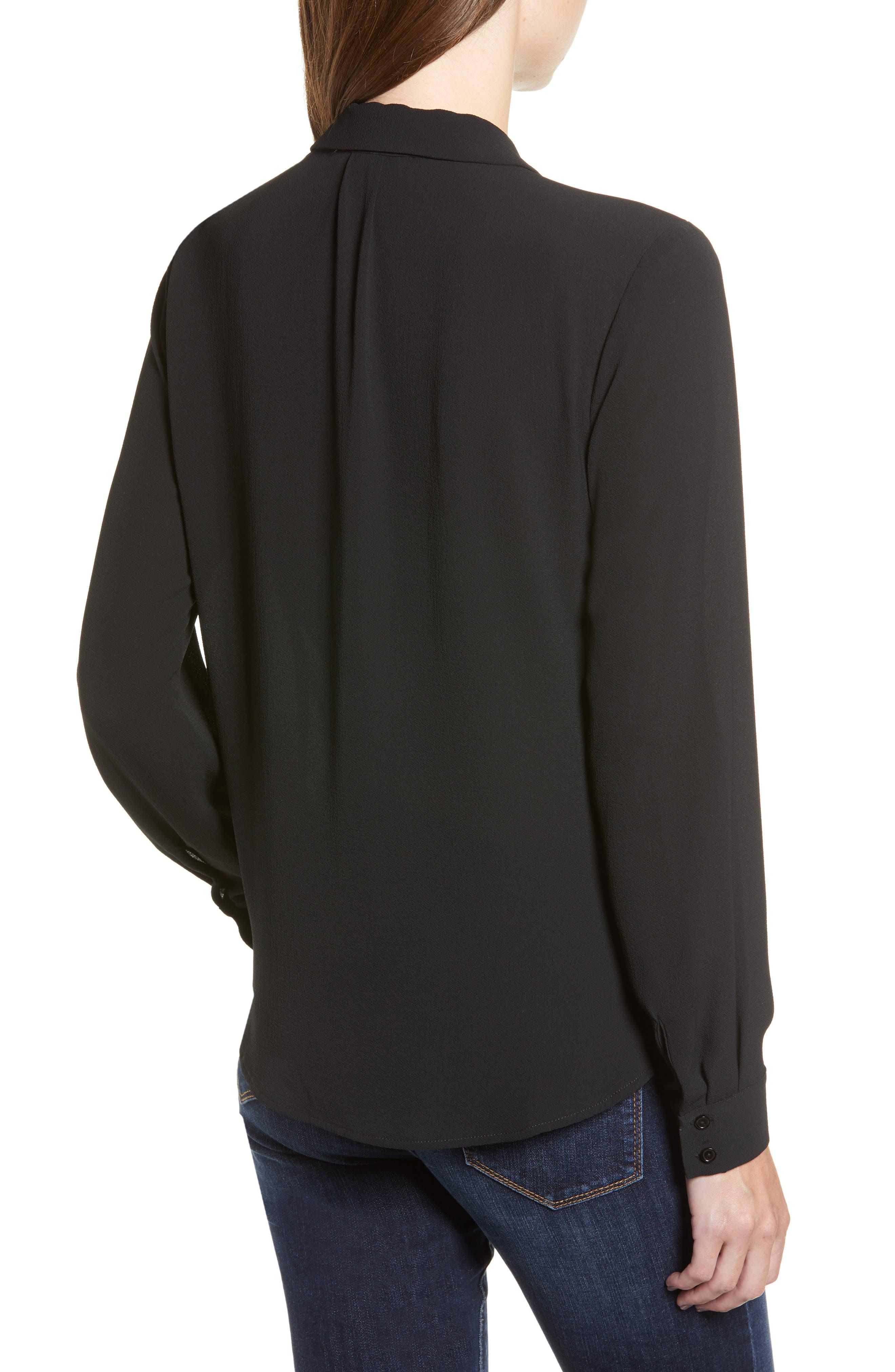 Patterned Drape Front Blouse,                             Alternate thumbnail 2, color,                             BLACK