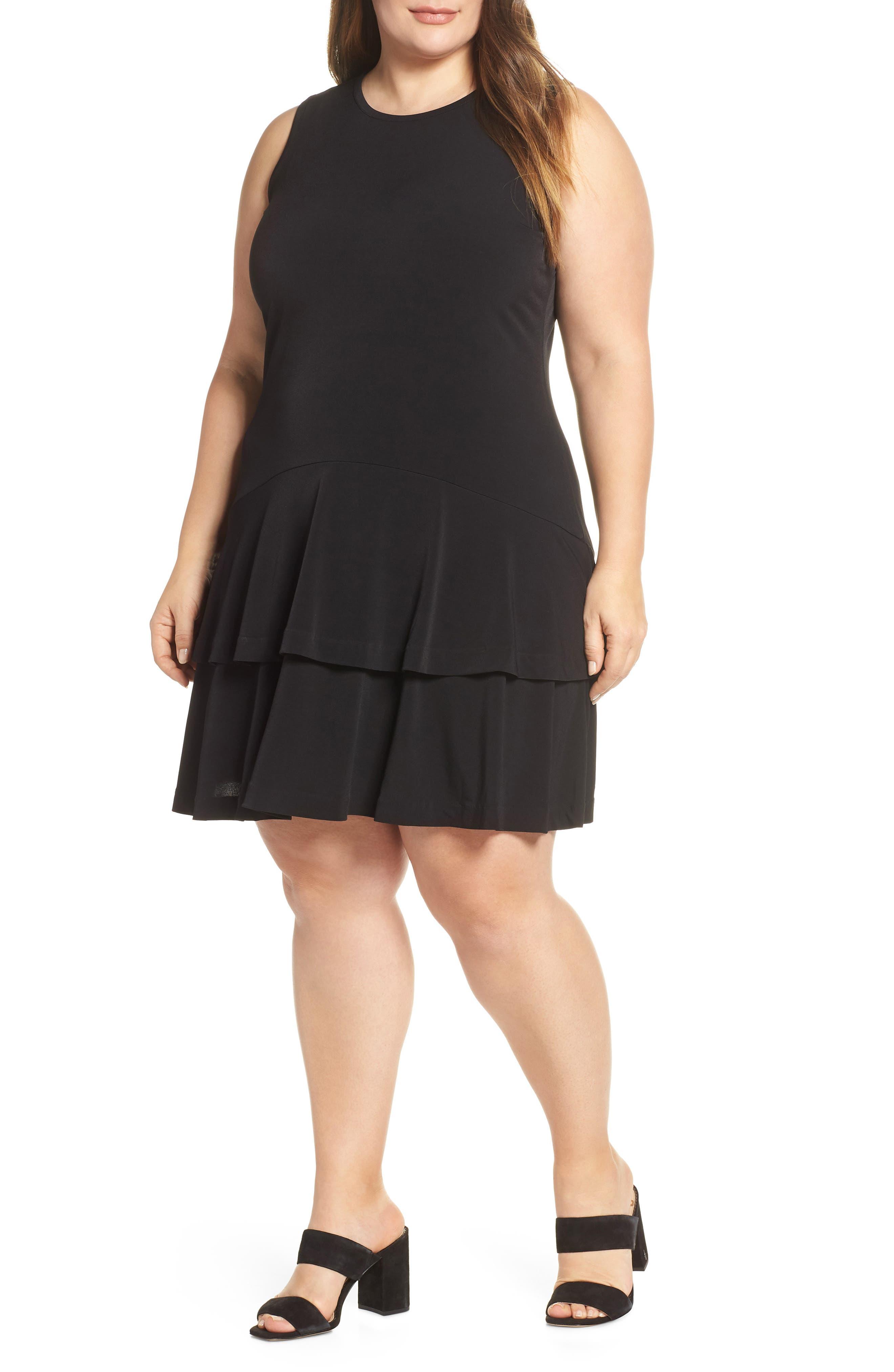 Plus Size Michael Michael Kors Sleeveless Flounce Dress, Black