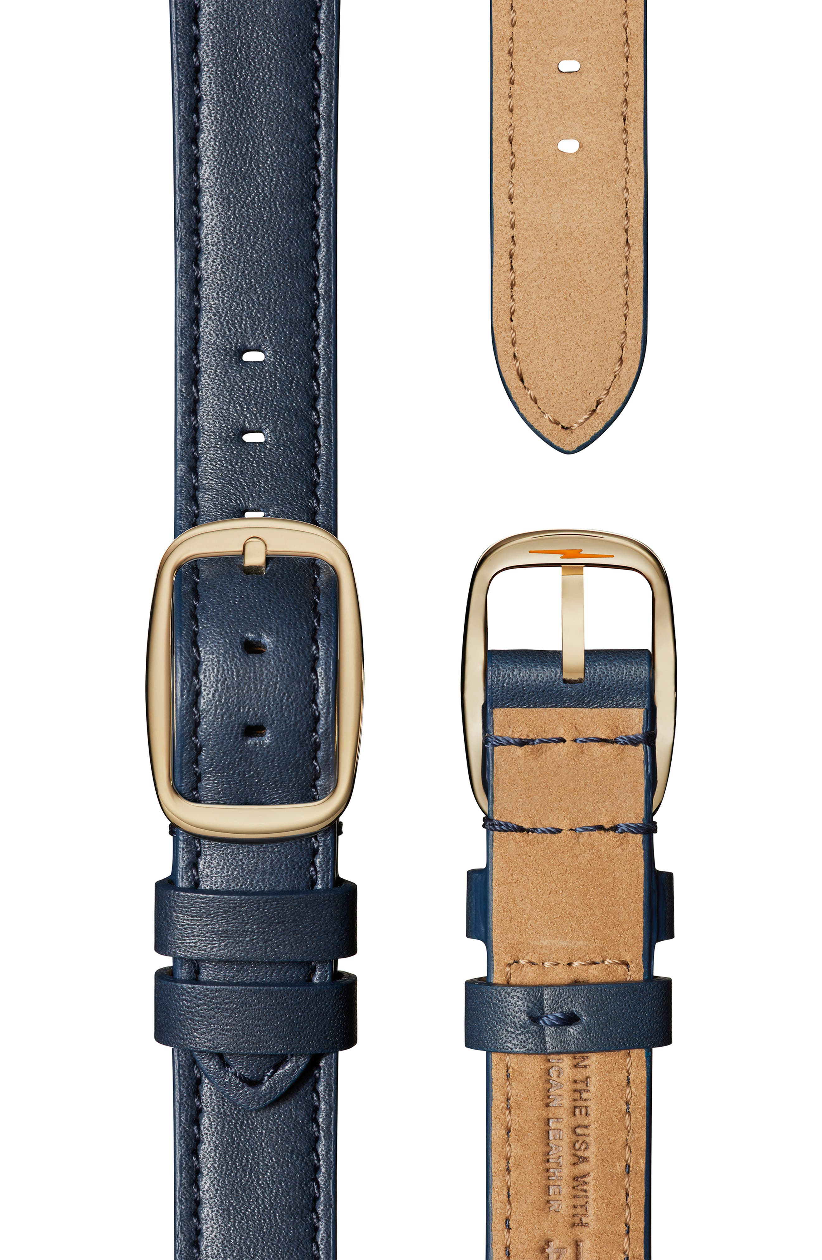Cass Leather Strap Watch, 28mm,                             Alternate thumbnail 4, color,                             OCEAN/ BLUE/ GOLD