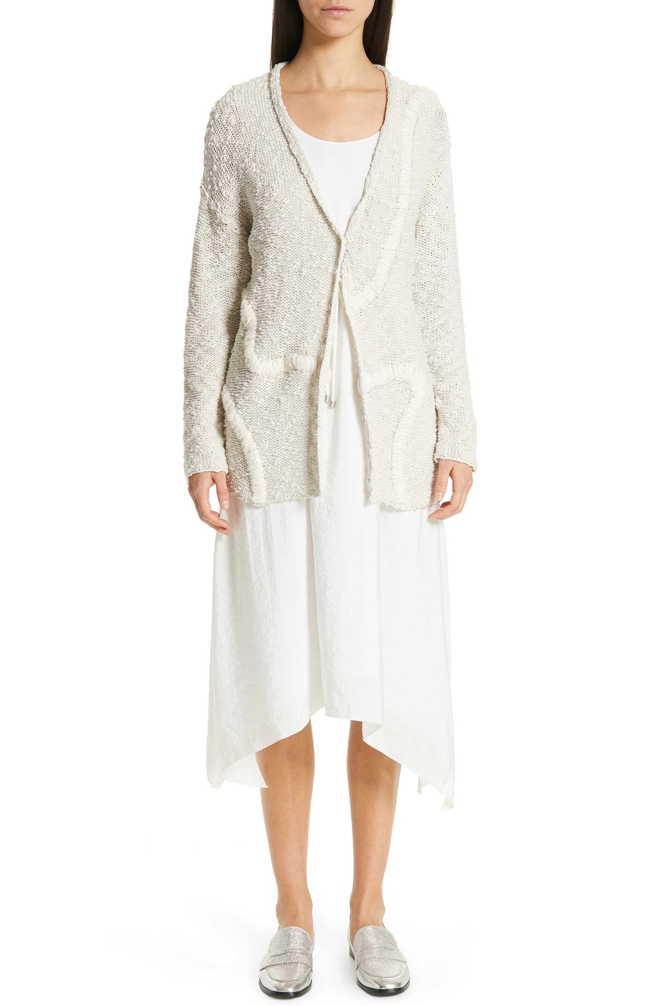 Embroidered Long Cardigan,                             Alternate thumbnail 7, color,                             BEIGE