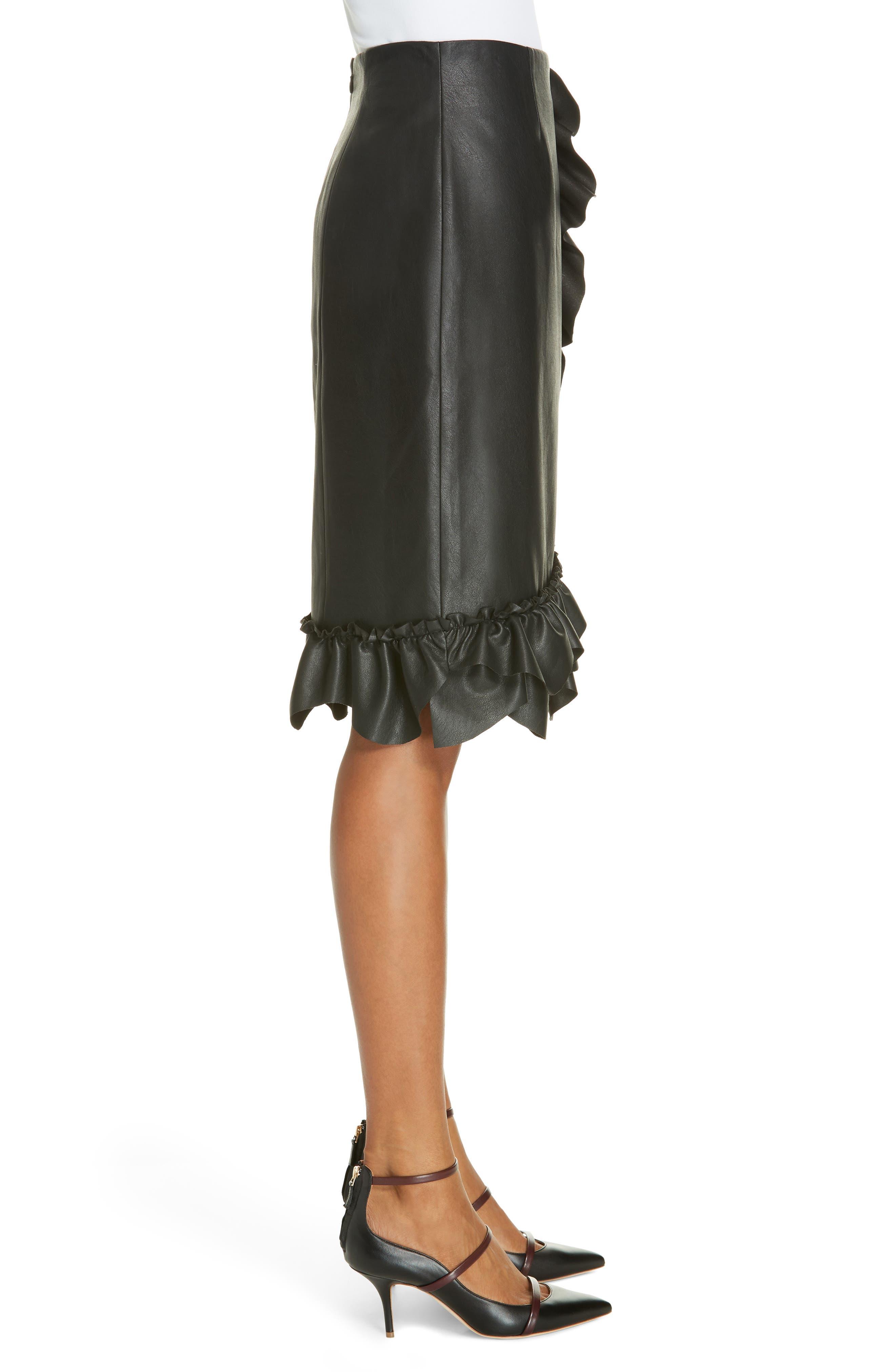 Faux Leather Ruffle Skirt,                             Alternate thumbnail 3, color,                             BLACK