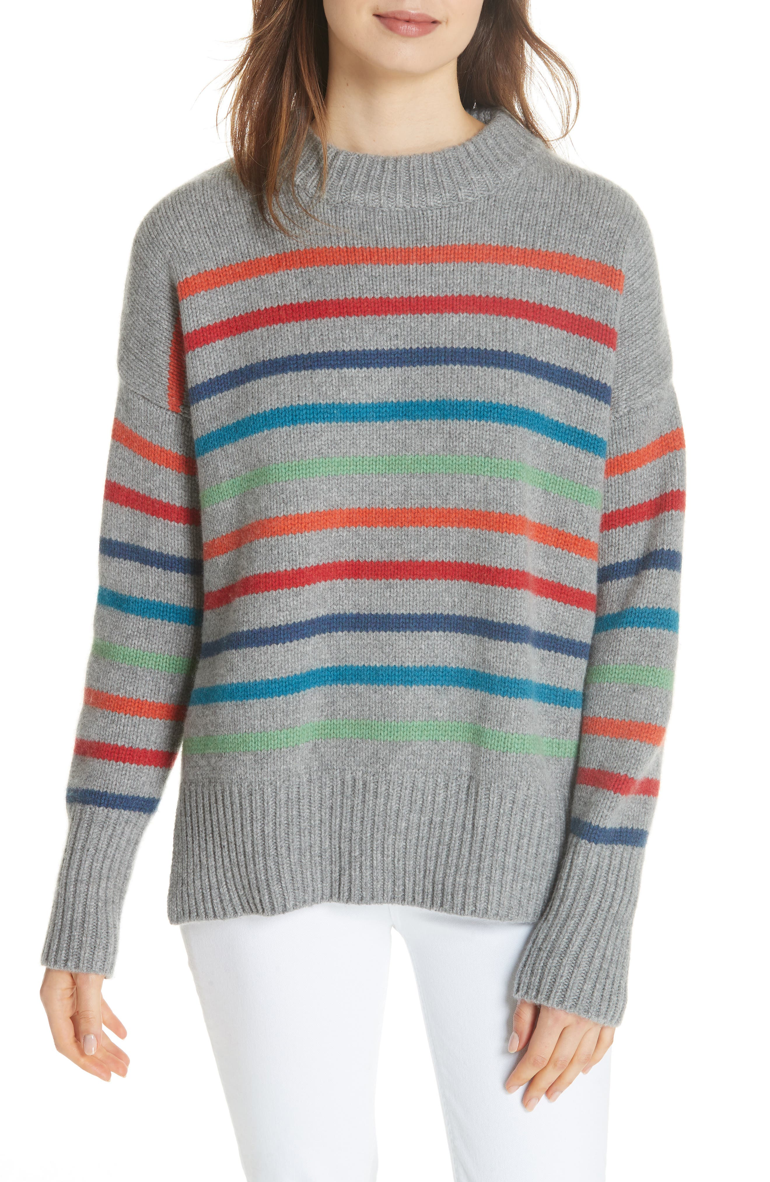 Marin Wool & Cashmere Sweater,                             Main thumbnail 1, color,                             RAINBOW STRIPE