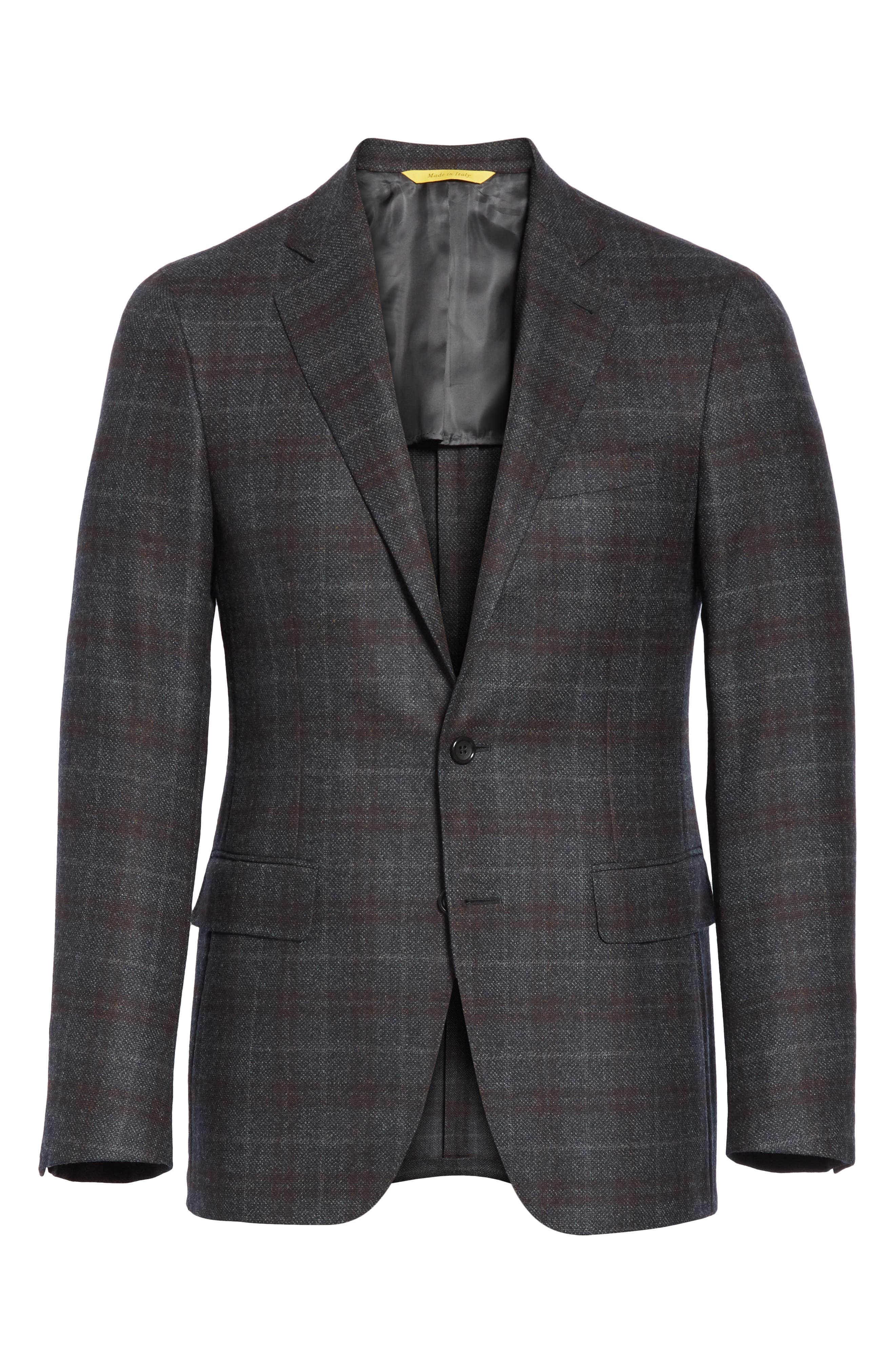 Classic Fit Plaid Wool Sport Coat,                             Alternate thumbnail 5, color,                             CHARCOAL