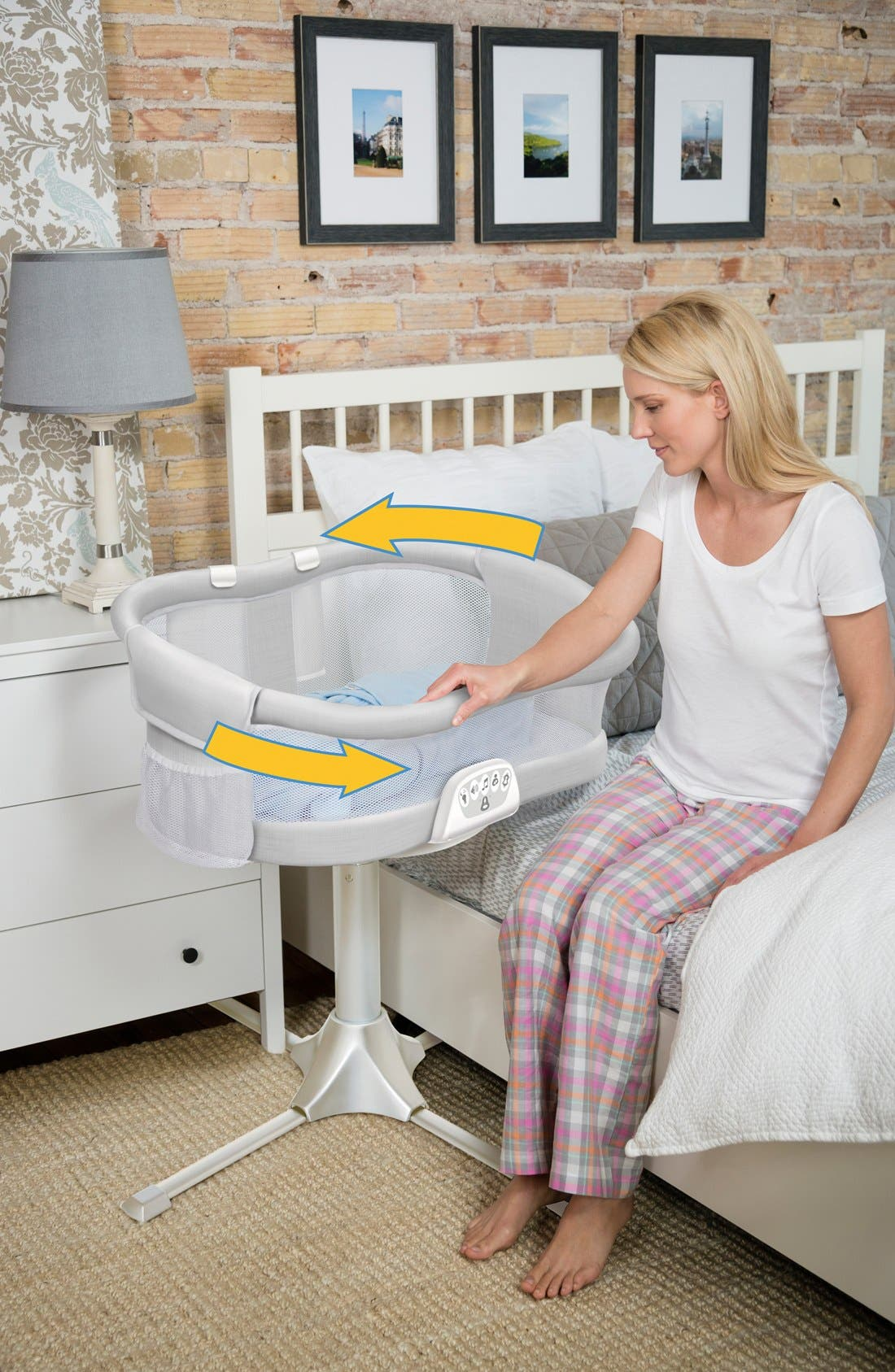 Halo Innovations<sup>®</sup> Bassinest LUXE Plus Bedside Swivel Sleeper,                             Alternate thumbnail 5, color,                             GRAY MELANGE