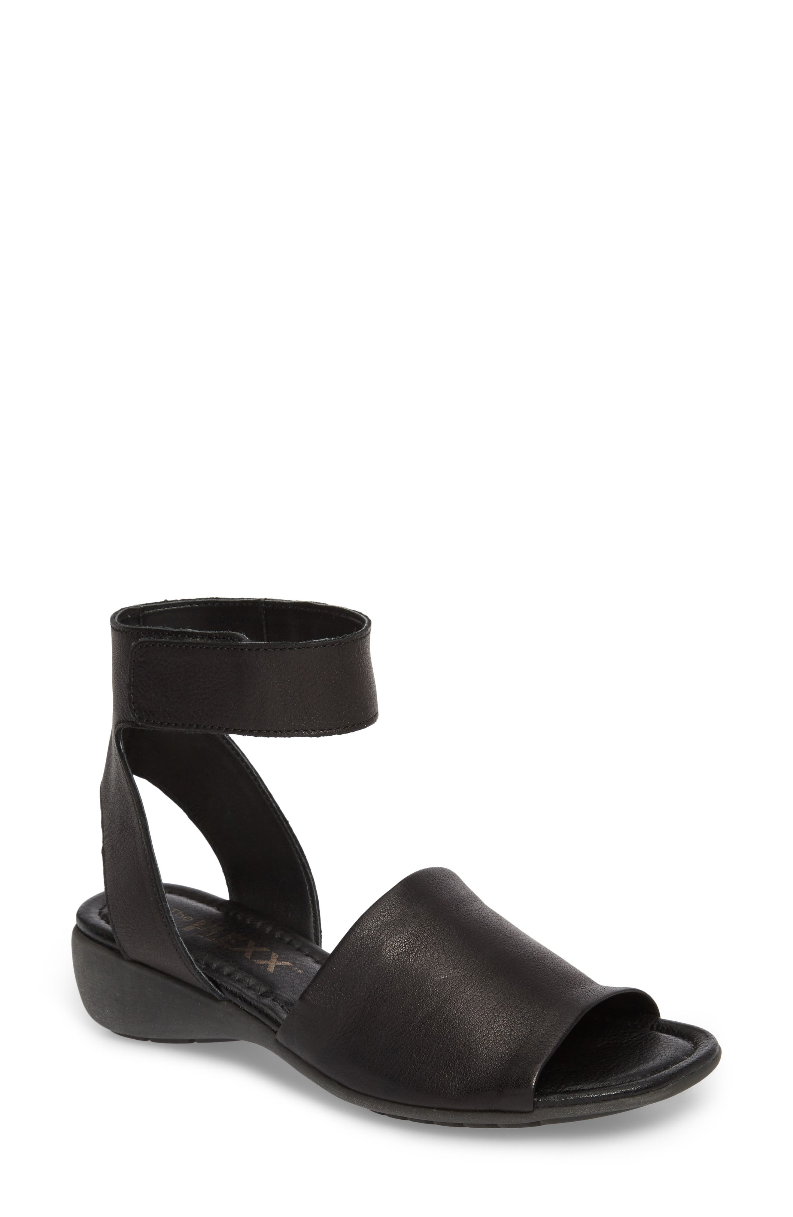 'Beglad' Leather Ankle Strap Sandal,                             Main thumbnail 1, color,                             BLACK VACHETTA LEATHER