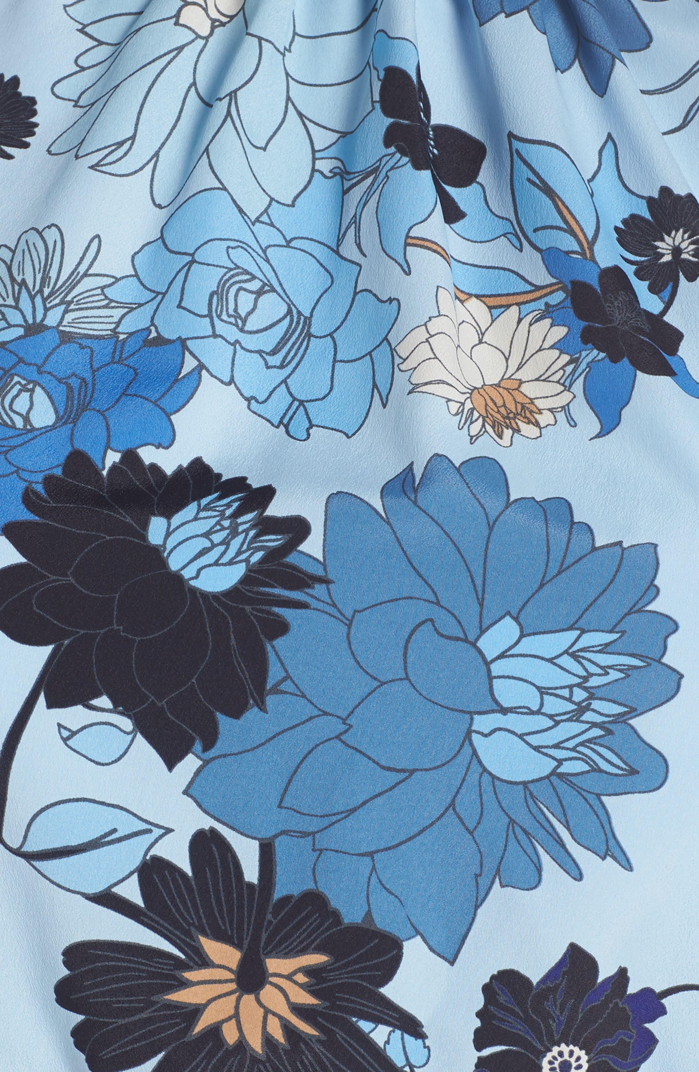 Floral Ruffle Neck Blouson Midi Dress,                             Alternate thumbnail 5, color,                             452