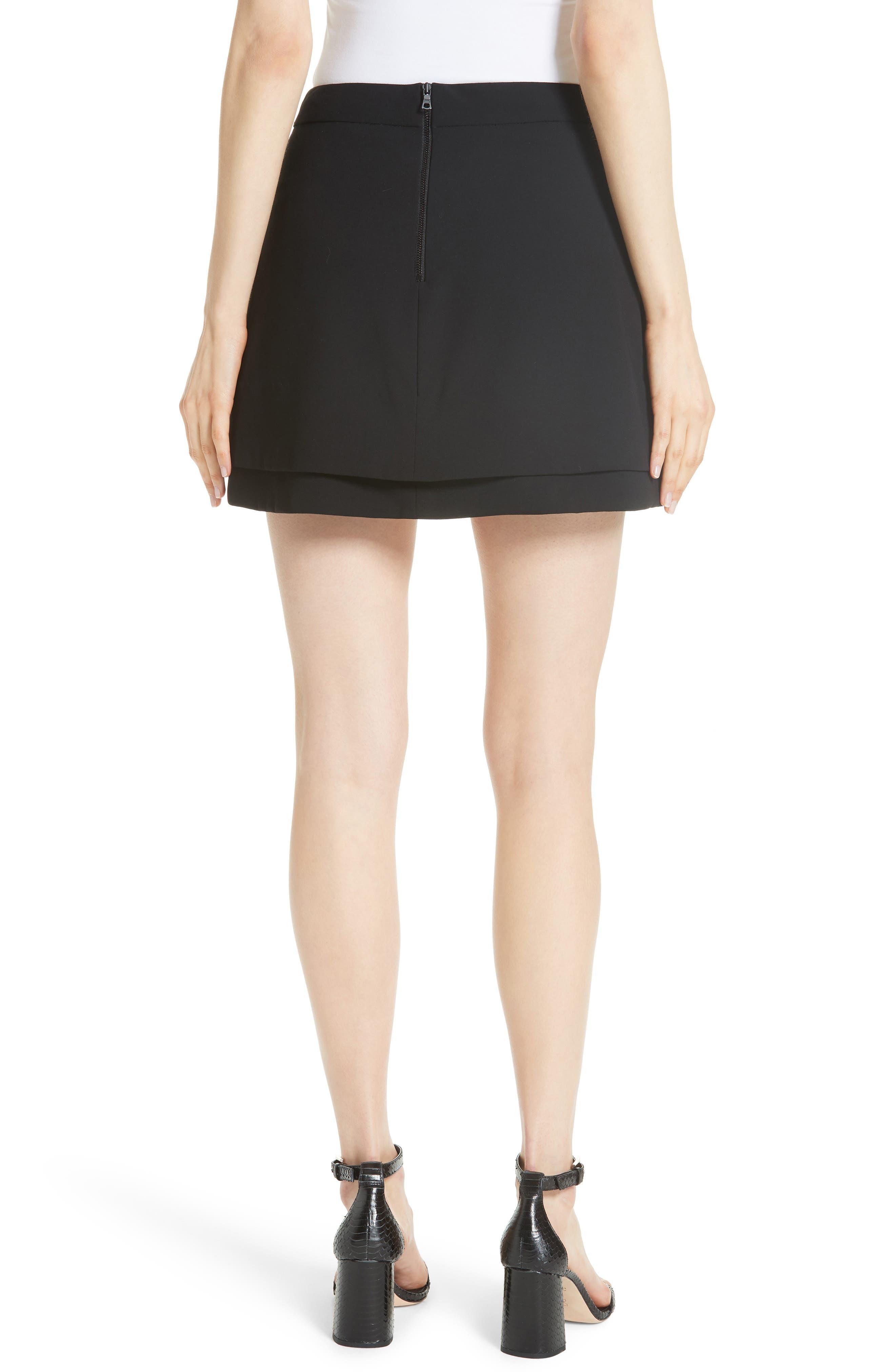 Nicolina Layered Tulip Miniskirt,                             Alternate thumbnail 2, color,                             BLACK