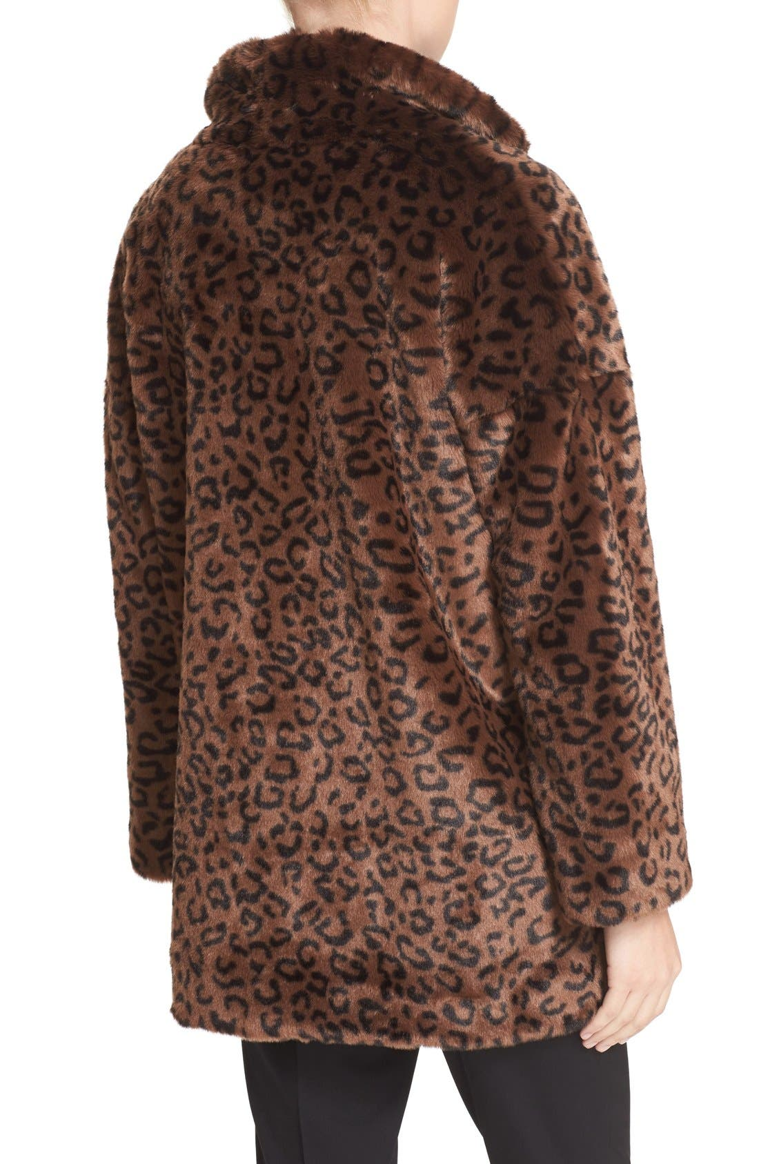 Leopard Print Faux Fur Coat,                             Alternate thumbnail 2, color,                             200