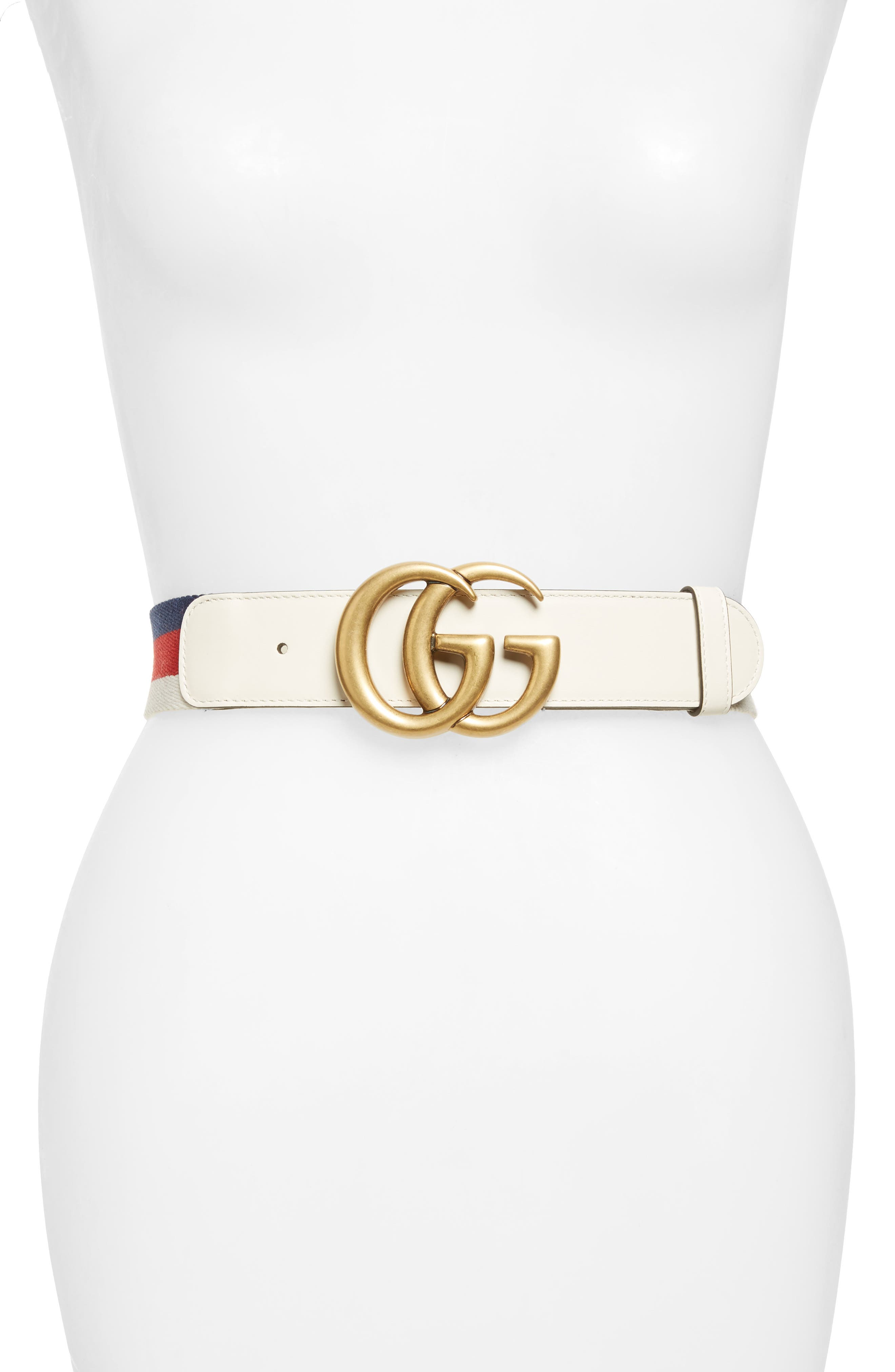Gucci Double-G Belt, White/ Red