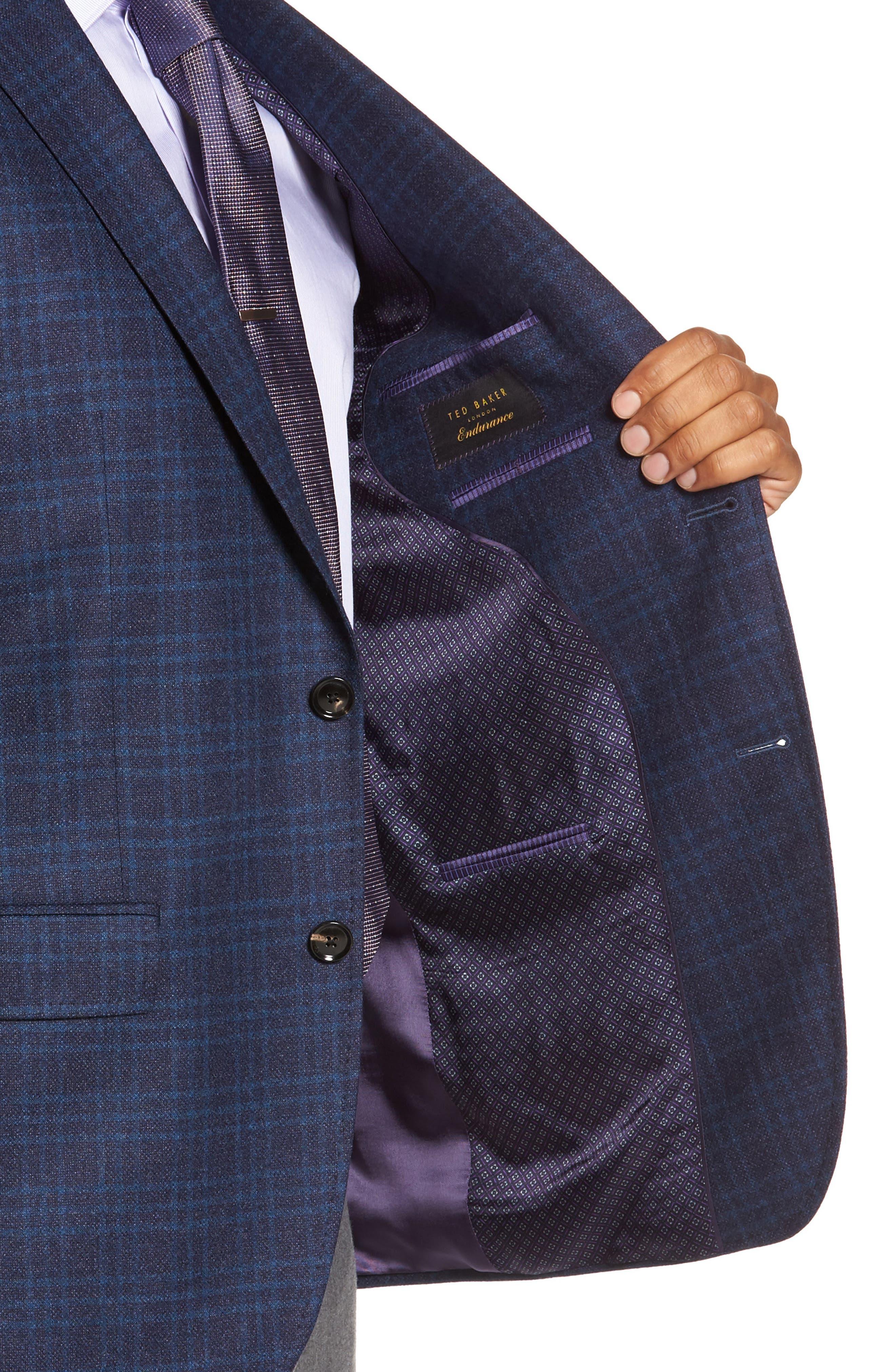 Trim Fit Plaid Wool Sport Coat,                             Alternate thumbnail 4, color,                             400