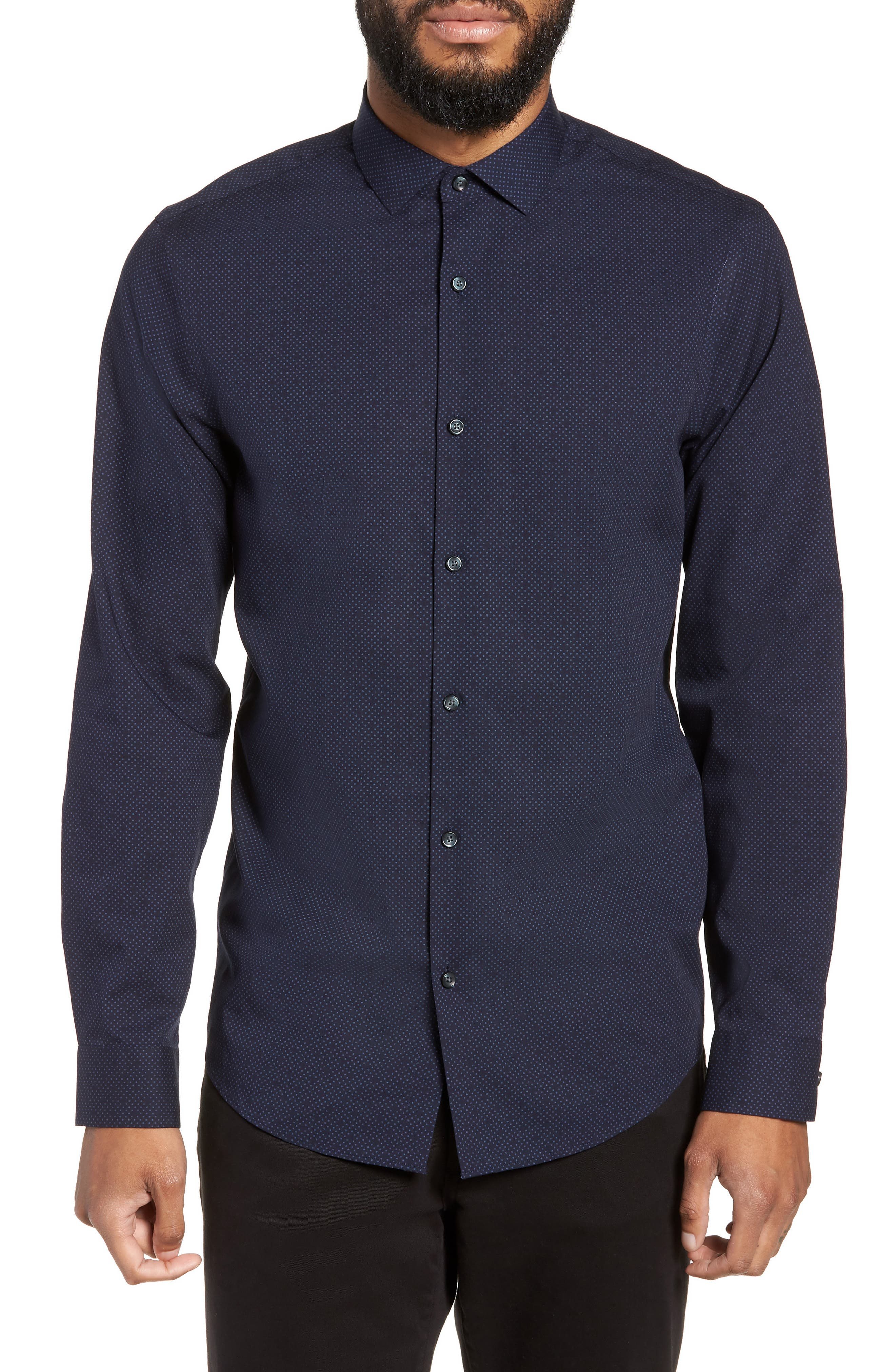 CALIBRATE,                             Slim Fit Dot Non-Iron Sport Shirt,                             Main thumbnail 1, color,                             410