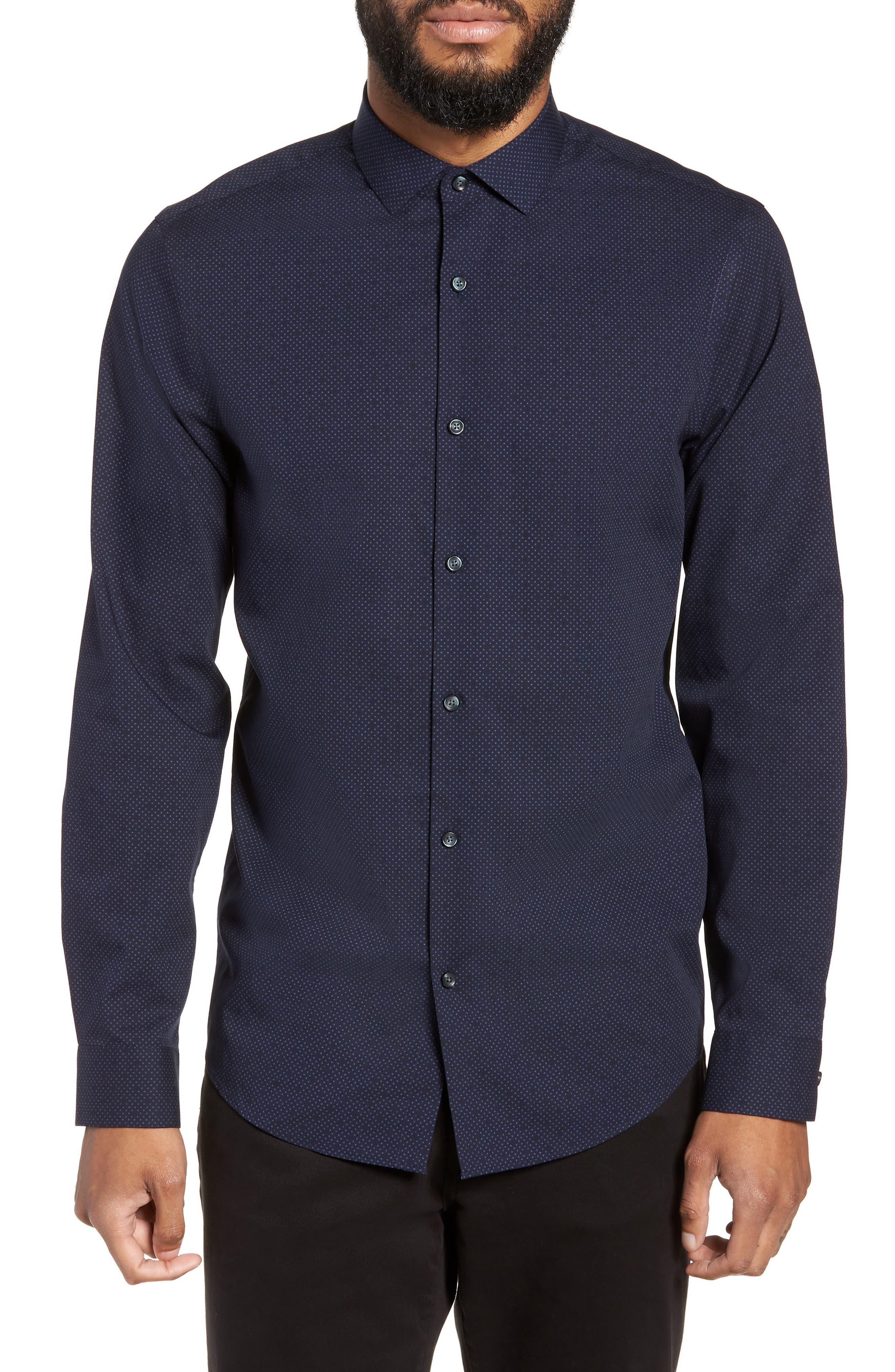 CALIBRATE Slim Fit Dot Non-Iron Sport Shirt, Main, color, 410