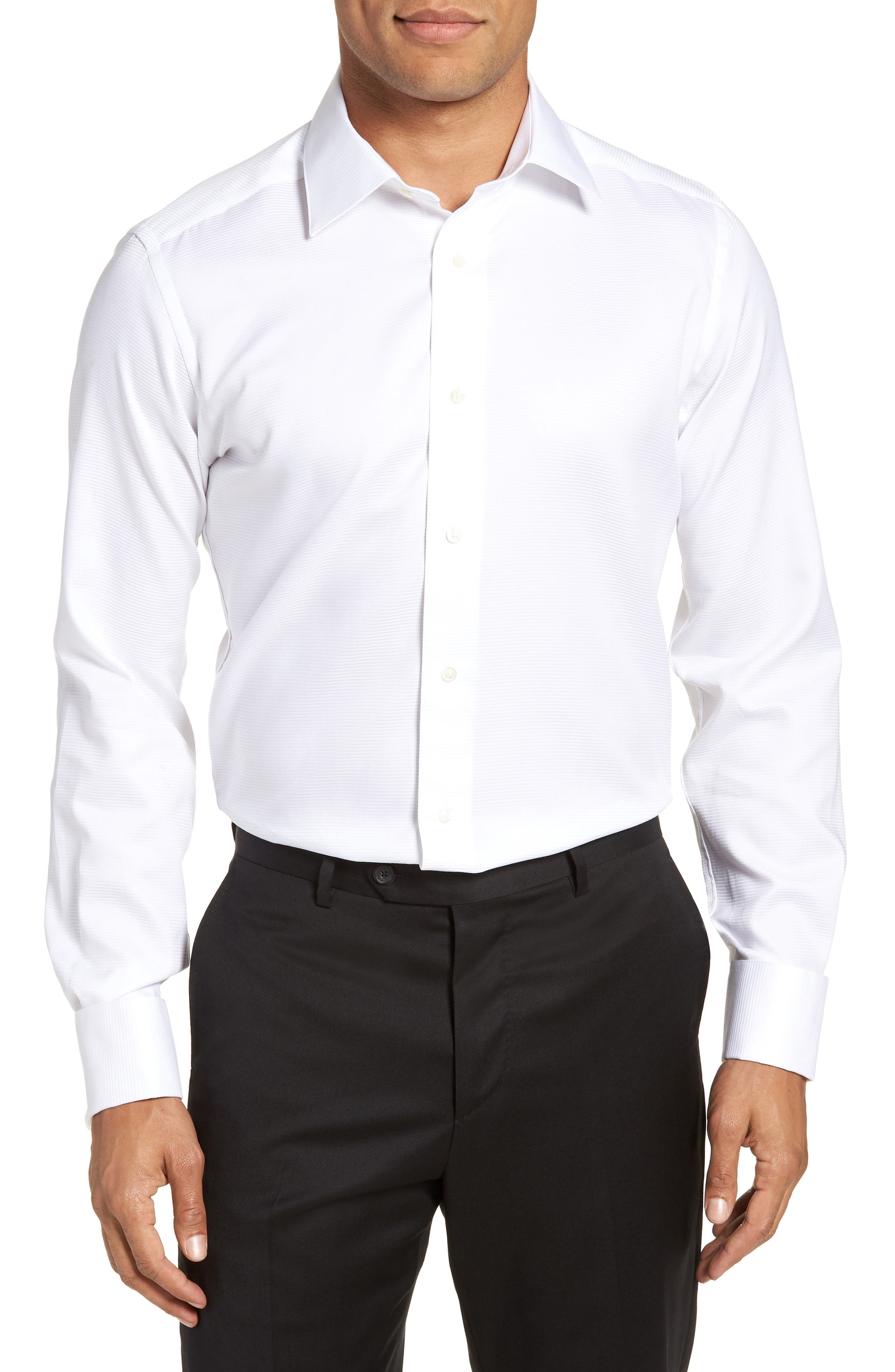 Trim Fit Twill French Cuff Tuxedo Shirt,                             Main thumbnail 1, color,                             SOLID WHITE