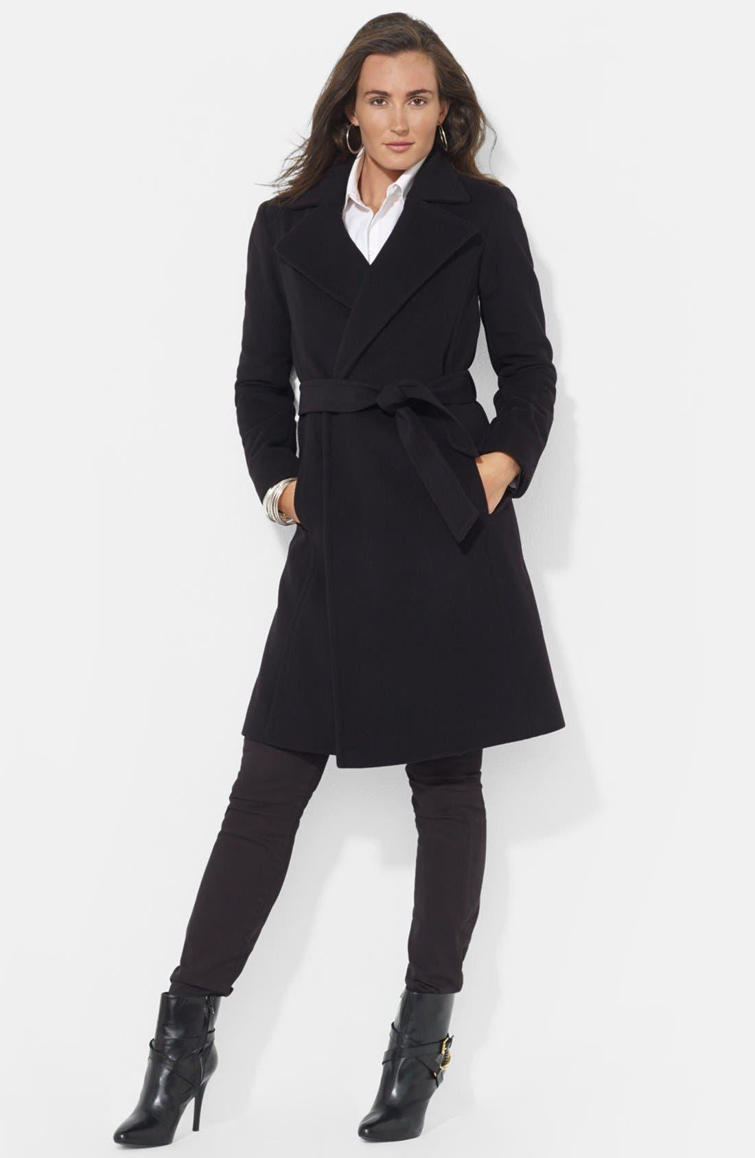 LAUREN RALPH LAUREN,                             Belted Wool Blend Wrap Coat,                             Main thumbnail 1, color,                             001