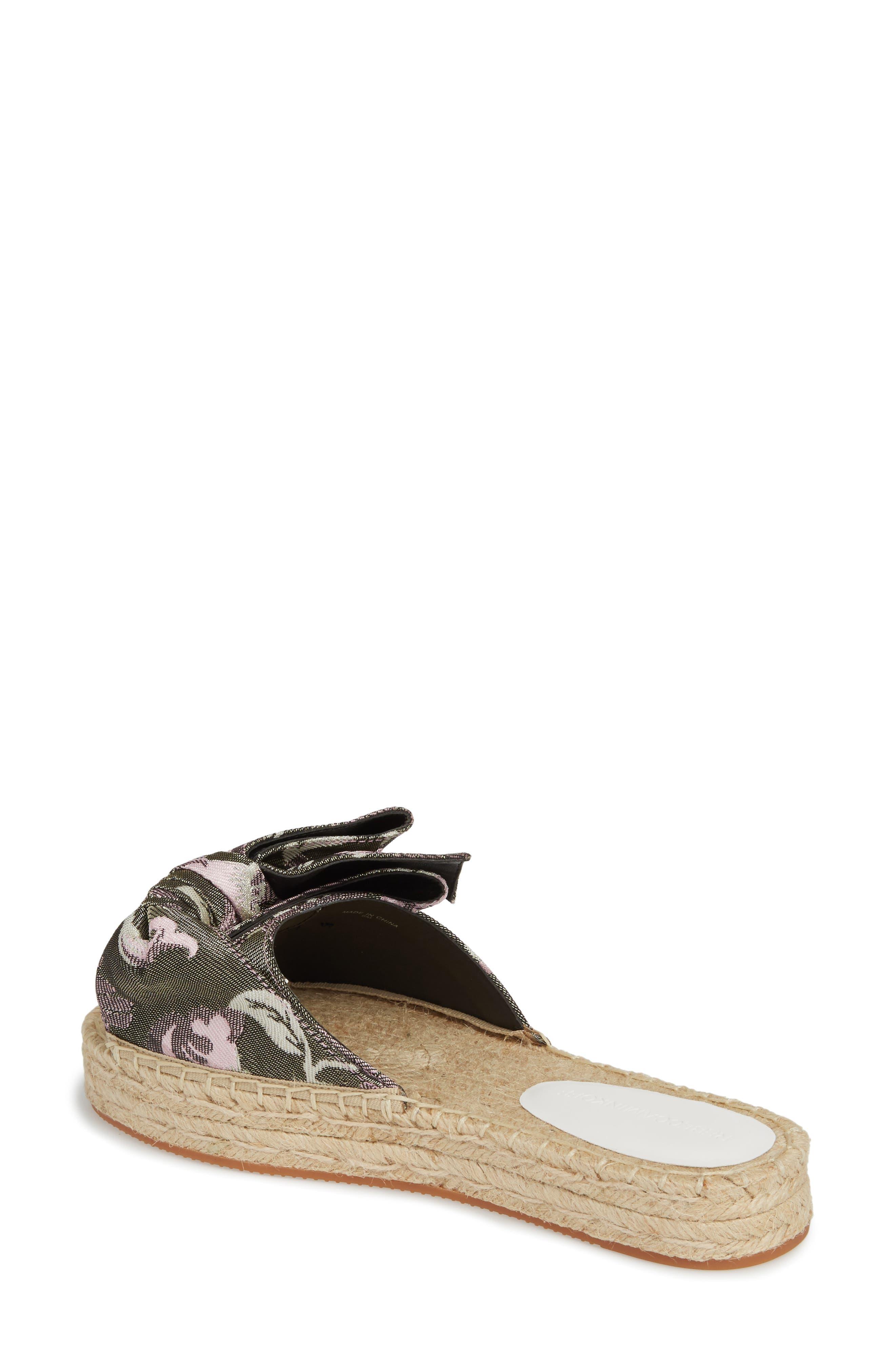 Giana Bow Slide Sandal,                             Alternate thumbnail 2, color,                             GREEN MULTI JACQUARD