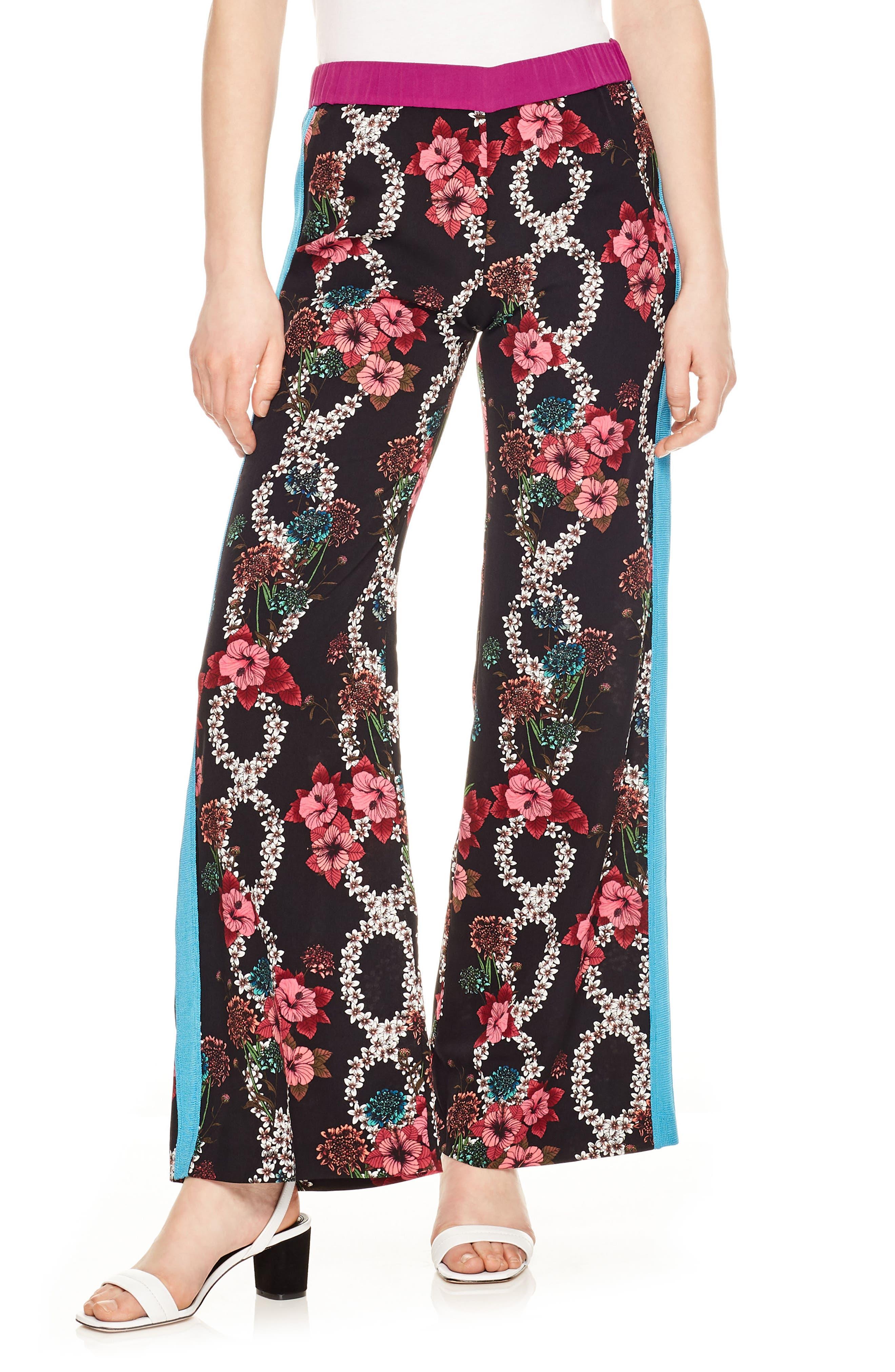 Flower Chain Tuxedo Stripe Wide Leg Pants,                             Main thumbnail 1, color,