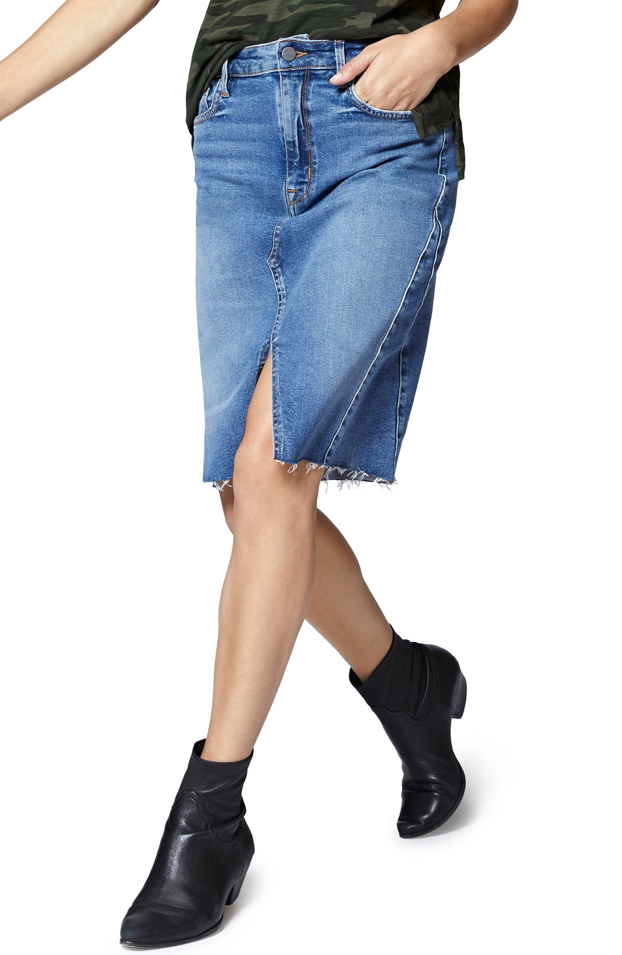 Sia A-Line Denim Skirt,                             Main thumbnail 1, color,                             FLAT IRON RIGID