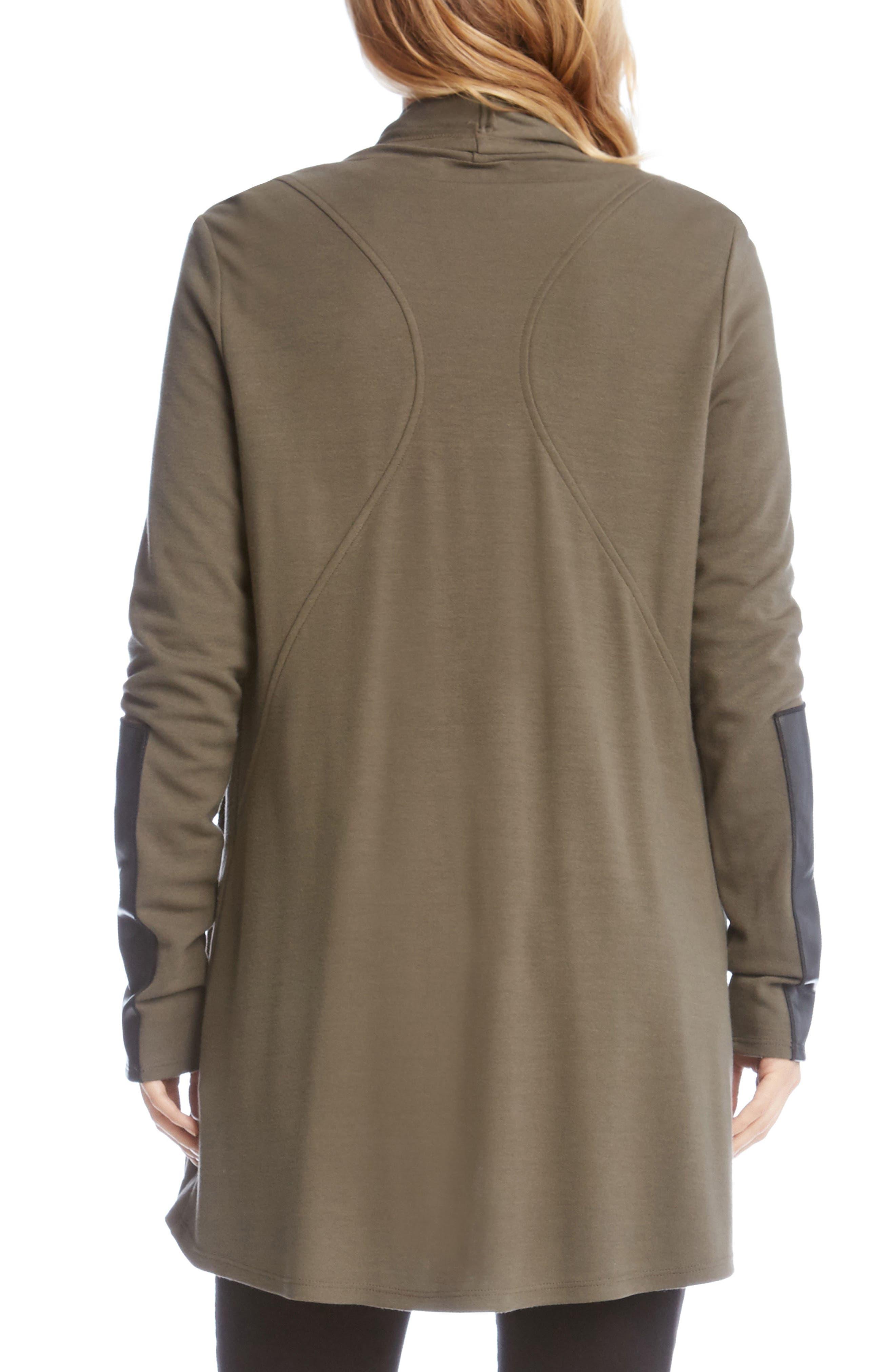 Faux Leather Patch Fleece Knit Jacket,                             Alternate thumbnail 2, color,                             312
