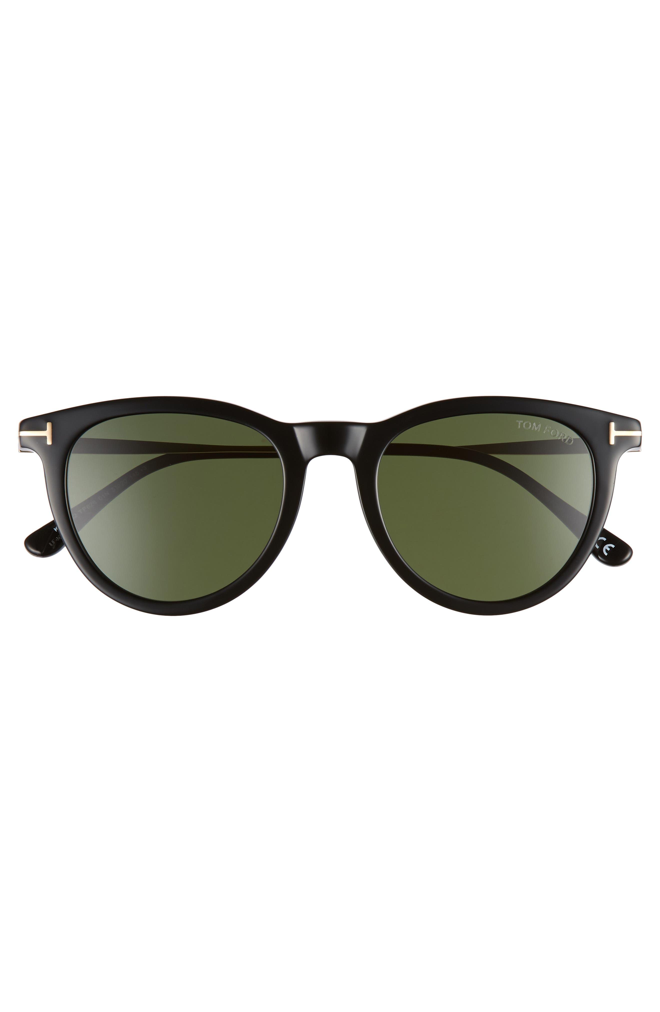 51mm Cat Eye Sunglasses,                             Alternate thumbnail 3, color,                             SHINY BLACK/ GREEN