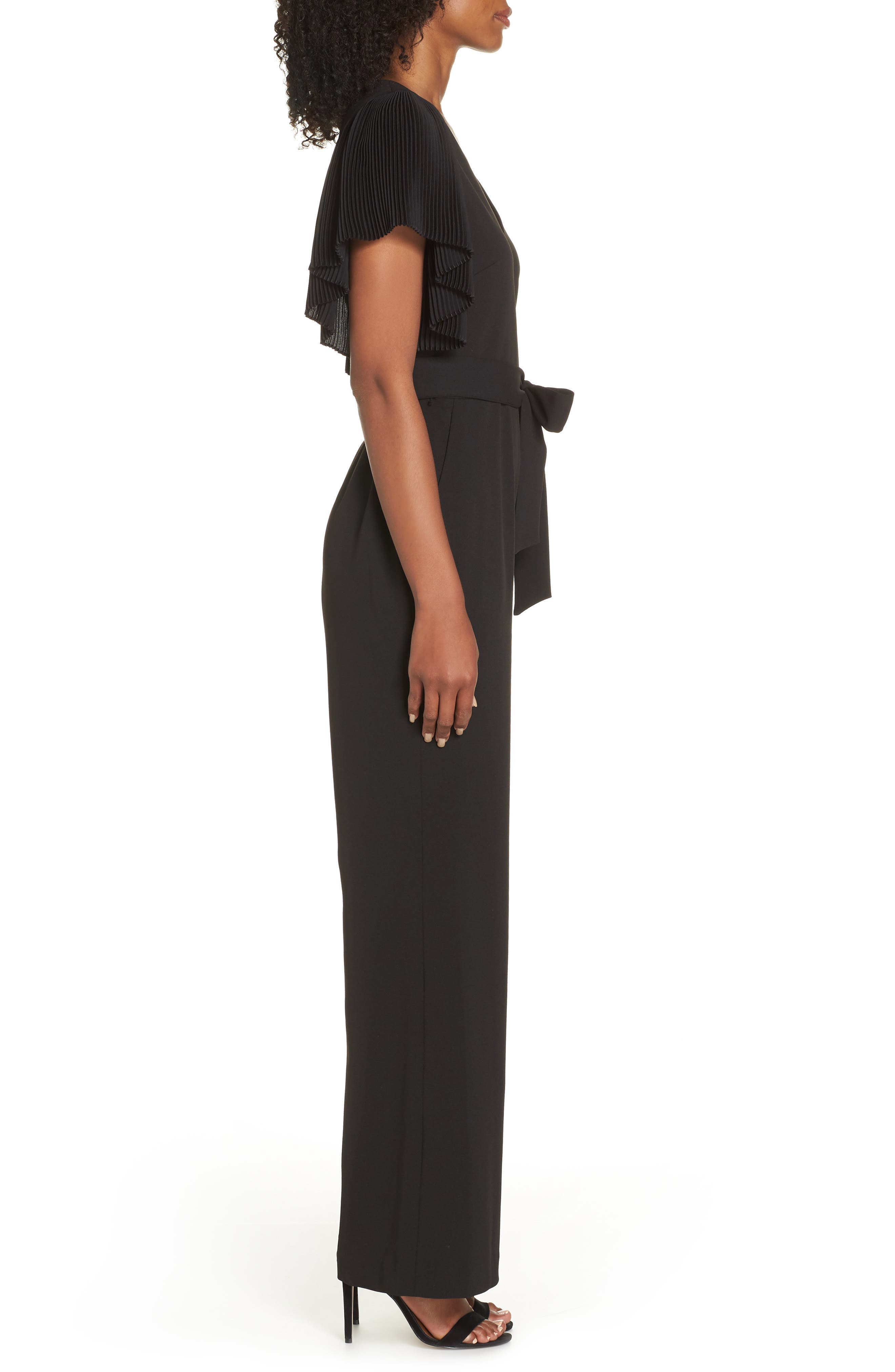 Pleat Sleeve Jumpsuit,                             Alternate thumbnail 3, color,                             BLACK