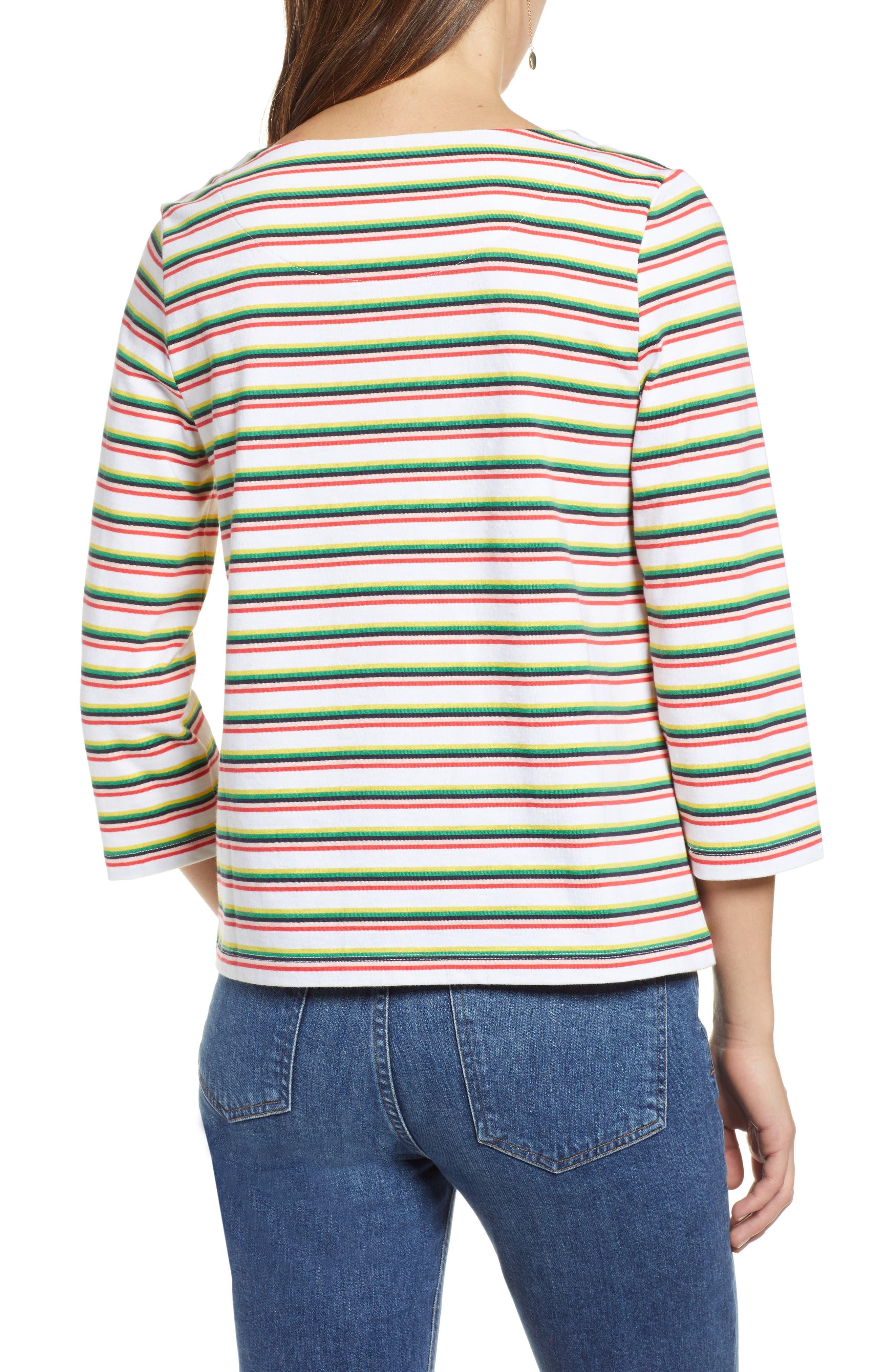 Stripe Top,                             Alternate thumbnail 2, color,                             WHITE MULTI PRIDE STRIPE
