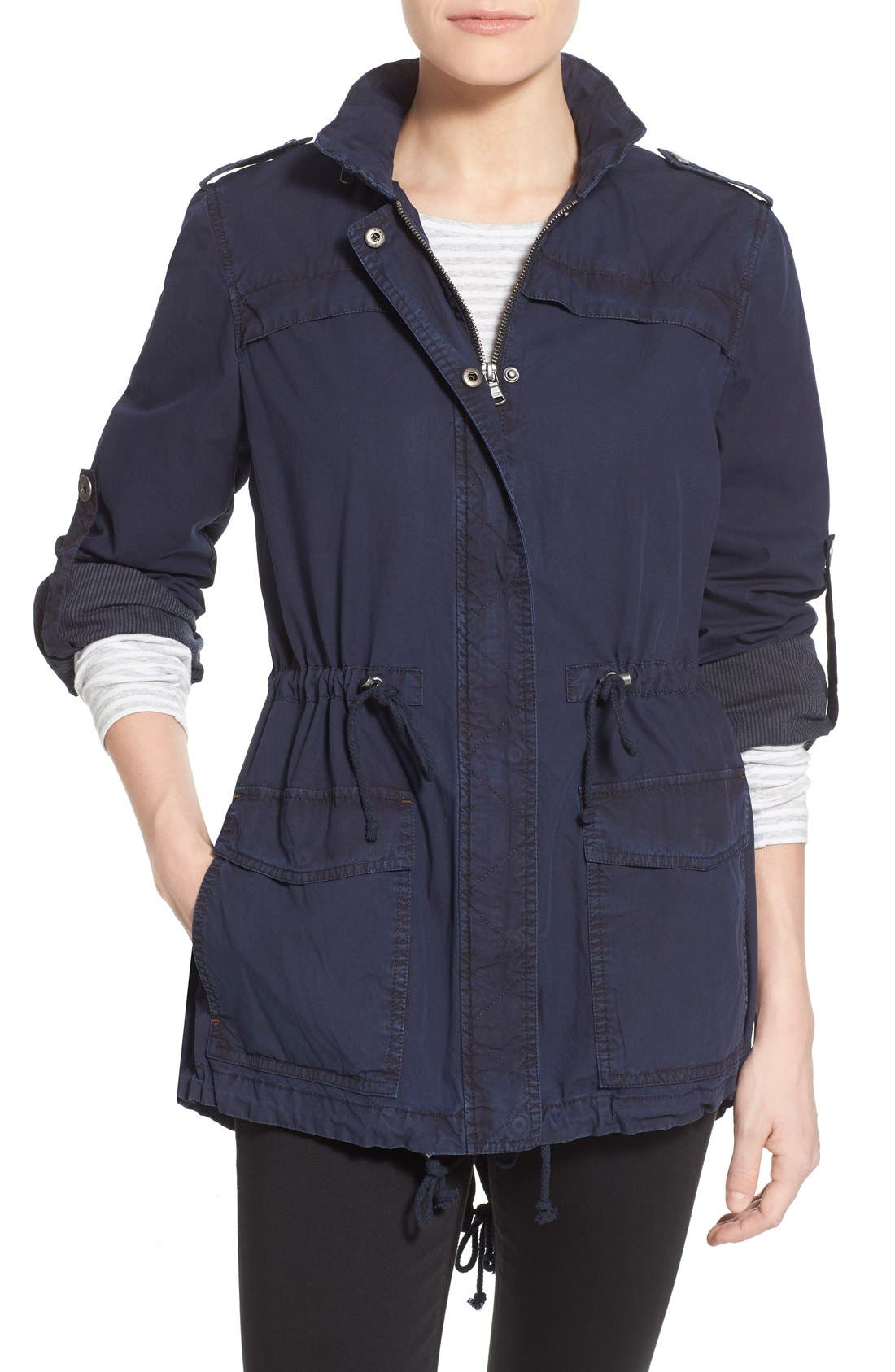 Lightweight Cotton Hooded Utility Jacket,                         Main,                         color,