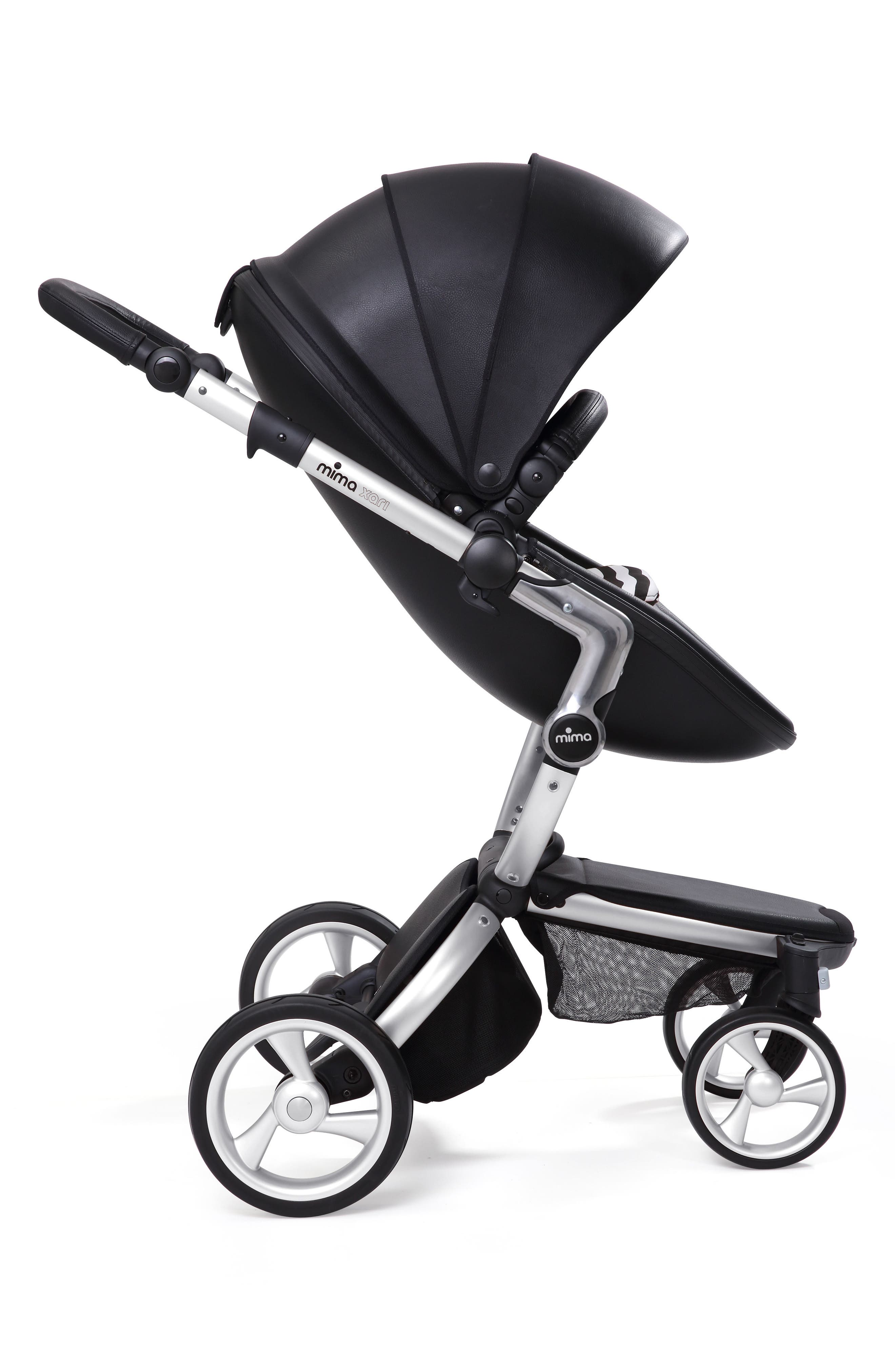 Xari Aluminum Chassis Stroller with Reversible Reclining Seat & Carrycot,                             Alternate thumbnail 3, color,                             BLACK / BLACK AND WHITE