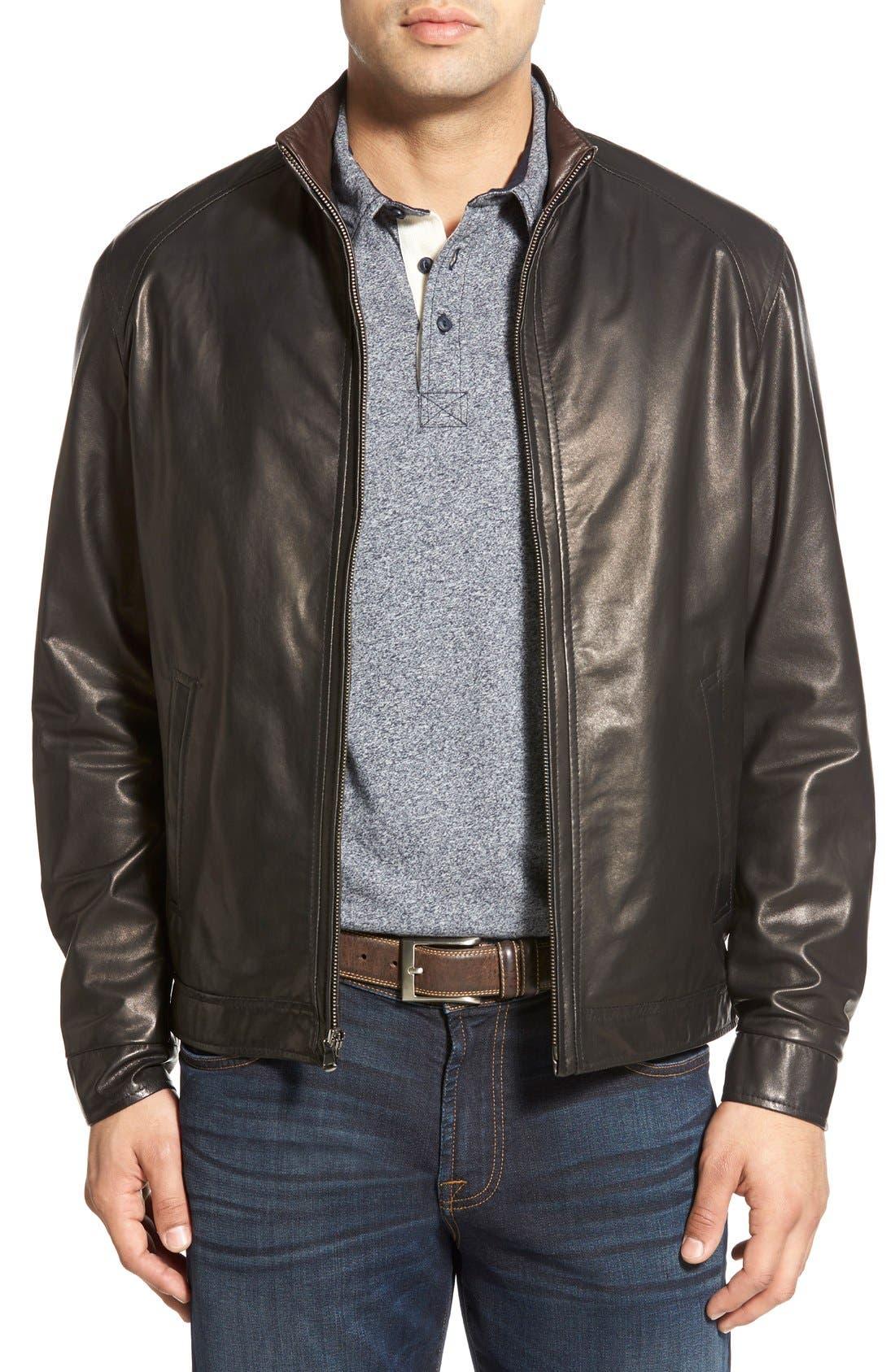 Lambskin Leather Jacket,                             Main thumbnail 1, color,                             MIDNITE