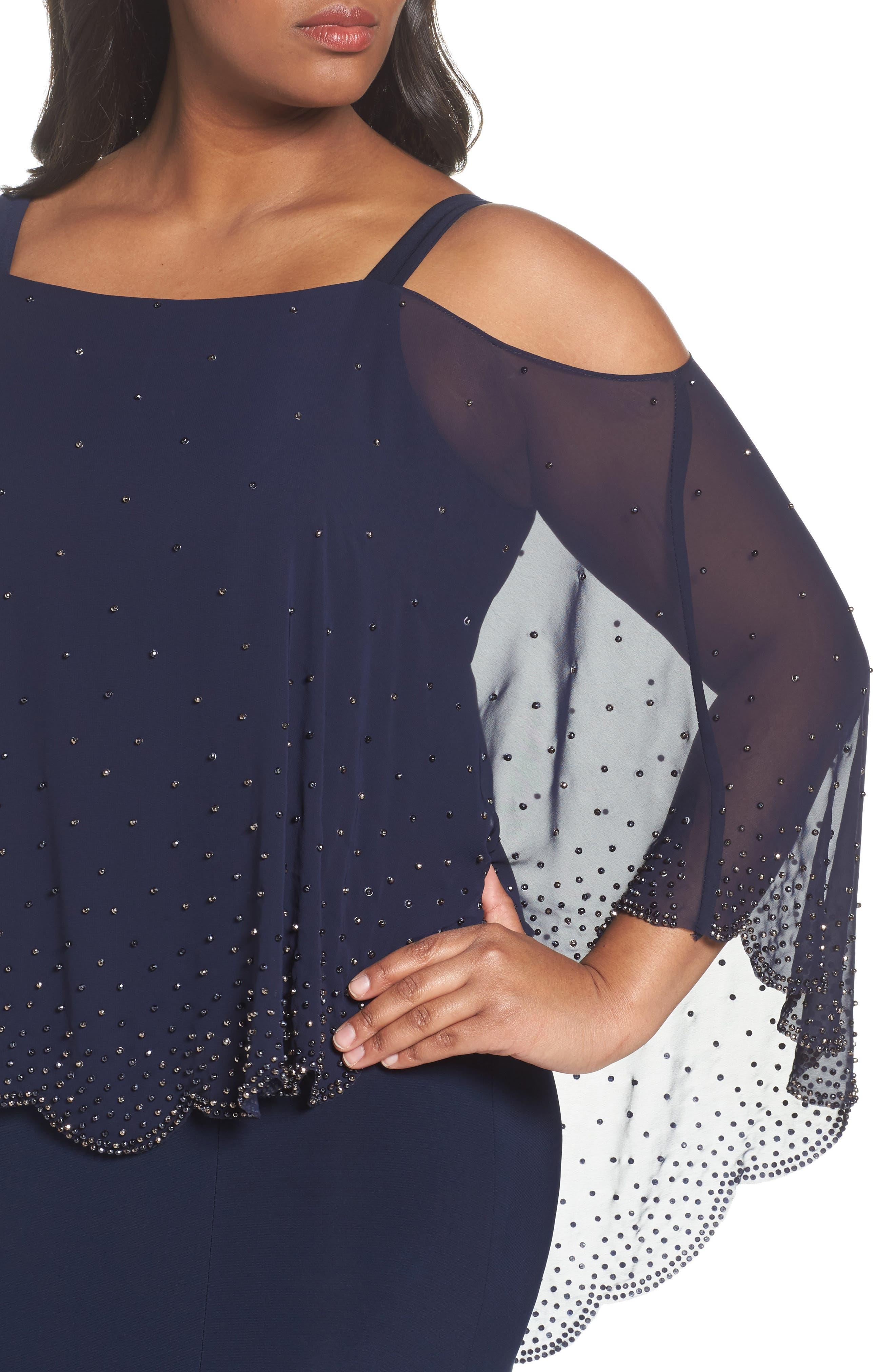Embellished Overlay Off the Shoulder Gown,                             Alternate thumbnail 4, color,                             400