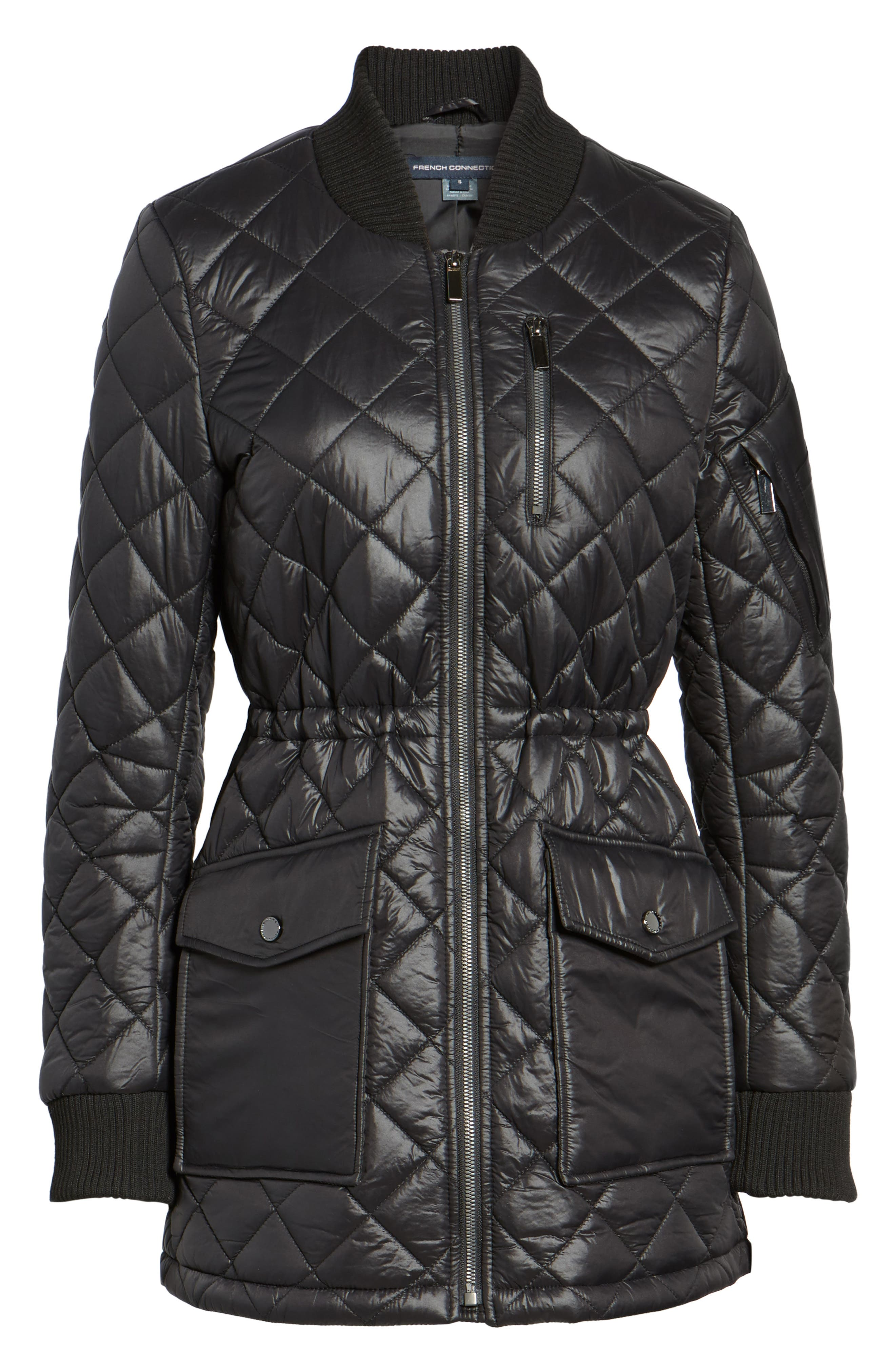 Quilted Anorak Jacket,                             Alternate thumbnail 5, color,                             001