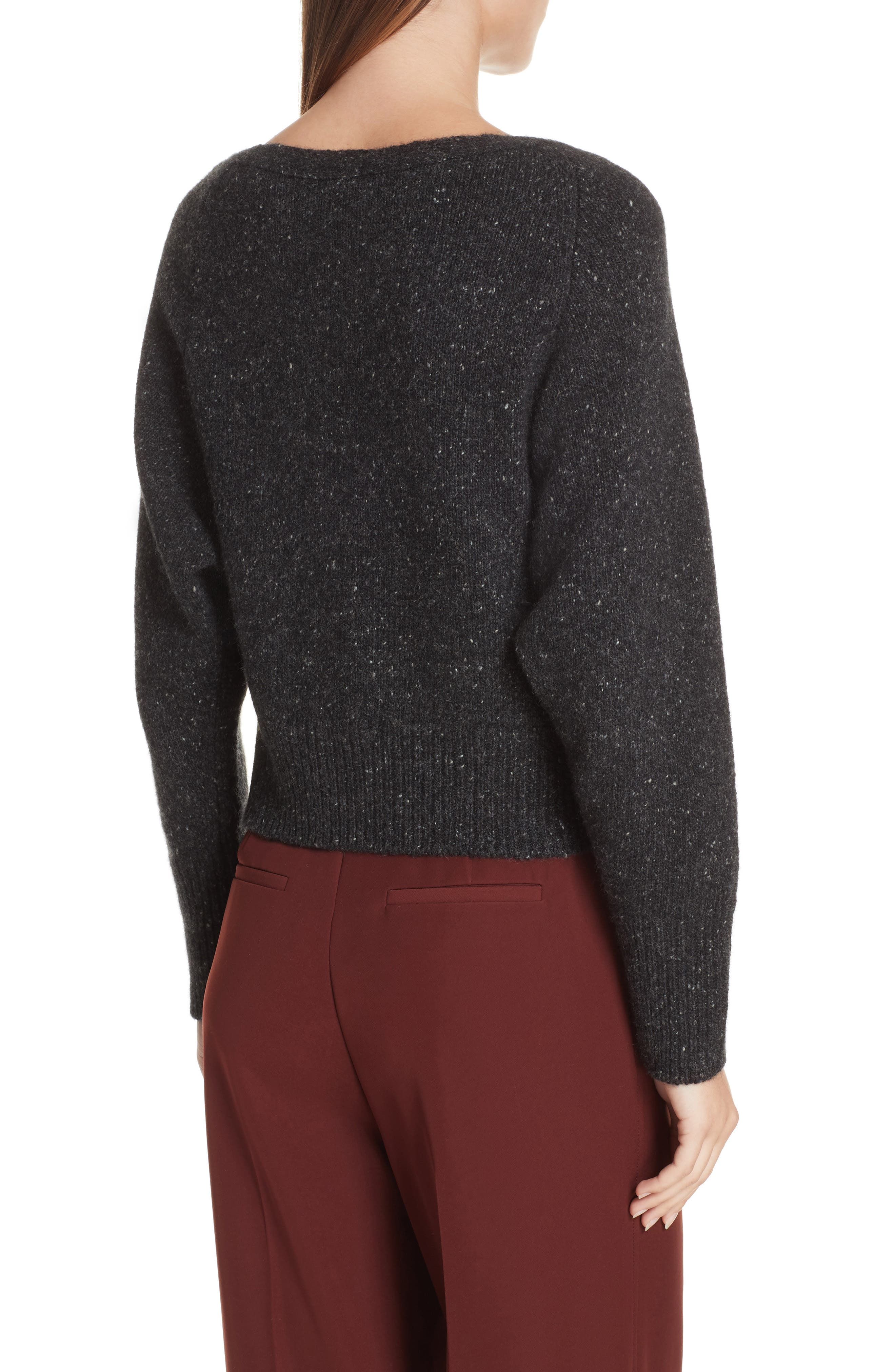 Cashmere Boatneck Sweater,                             Alternate thumbnail 2, color,                             CHARCOAL