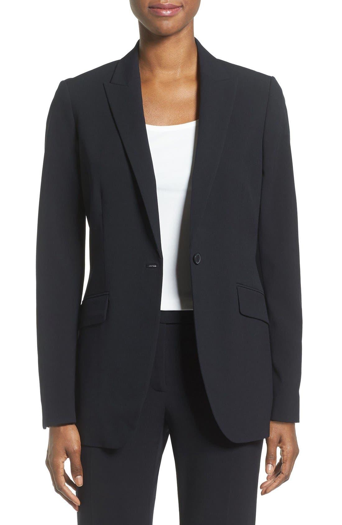 Long Boyfriend Suit Jacket,                             Main thumbnail 1, color,                             ANNE KLEIN BLACK