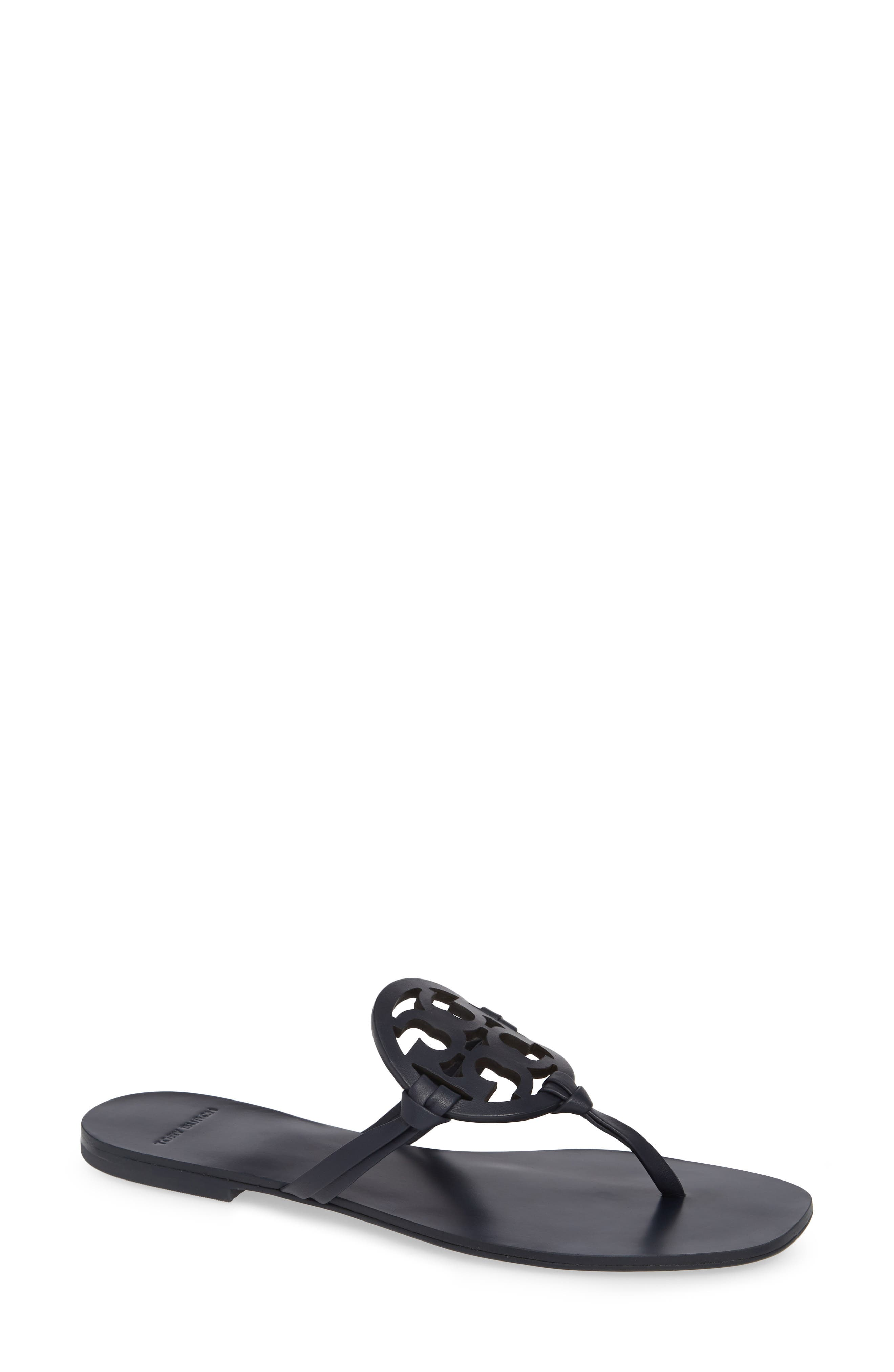 Women'S Miller Square Toe Leather Thong Sandals in Perfect Navy
