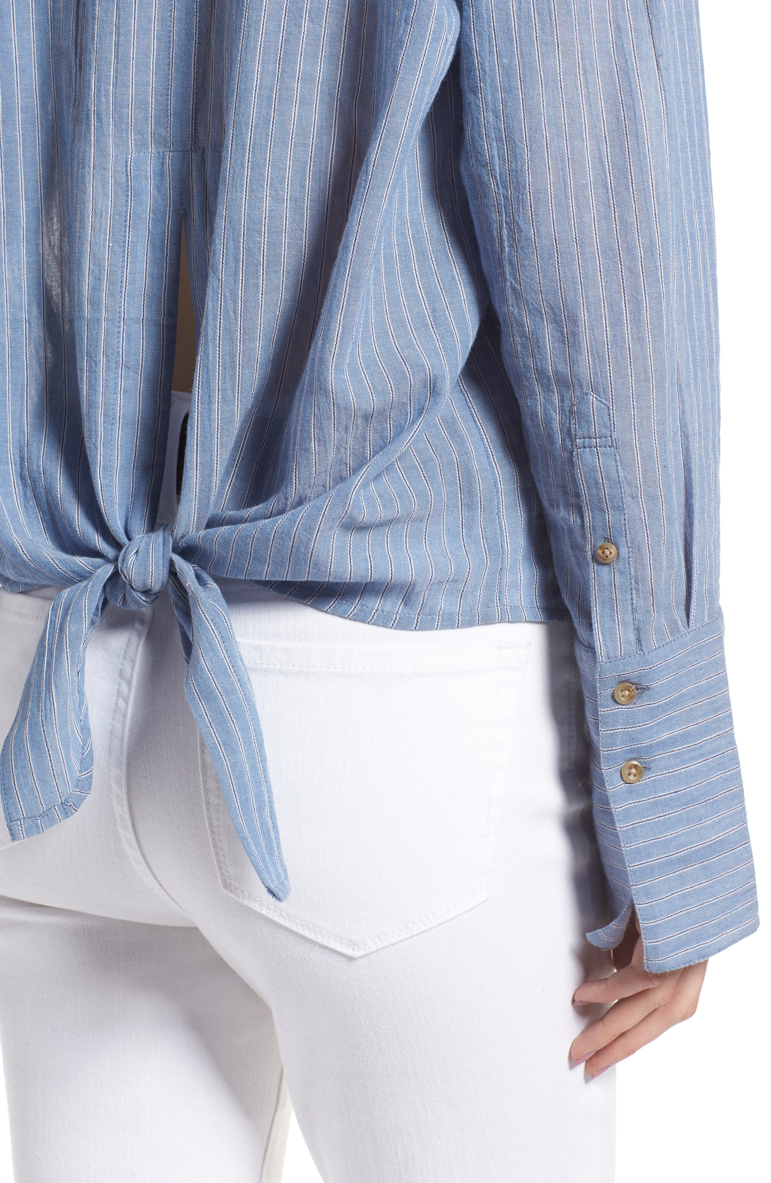 Tie Back Shirt,                             Alternate thumbnail 4, color,                             BLUE AIRY STRIPE