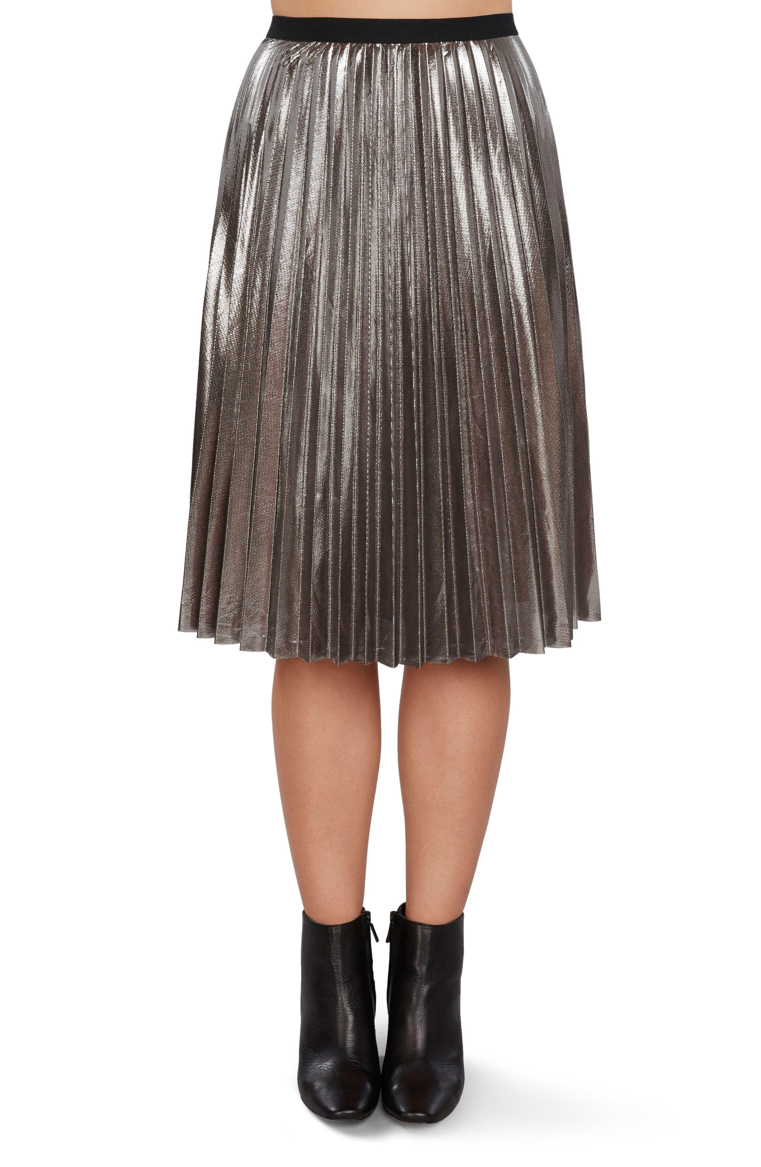 Pleated Metallic Skirt,                             Main thumbnail 2, color,