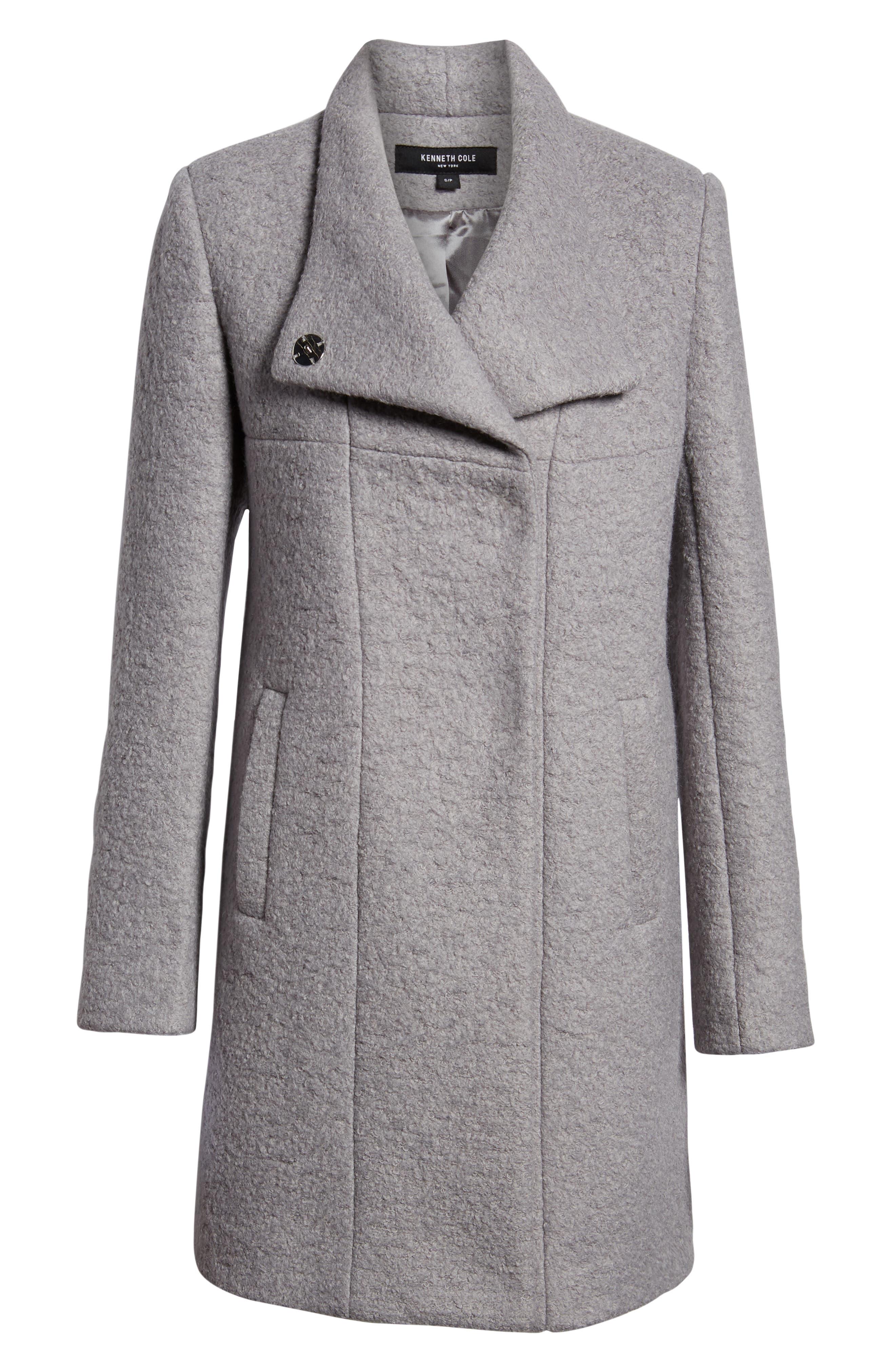 Pressed Bouclé Coat,                             Alternate thumbnail 6, color,                             NICKEL