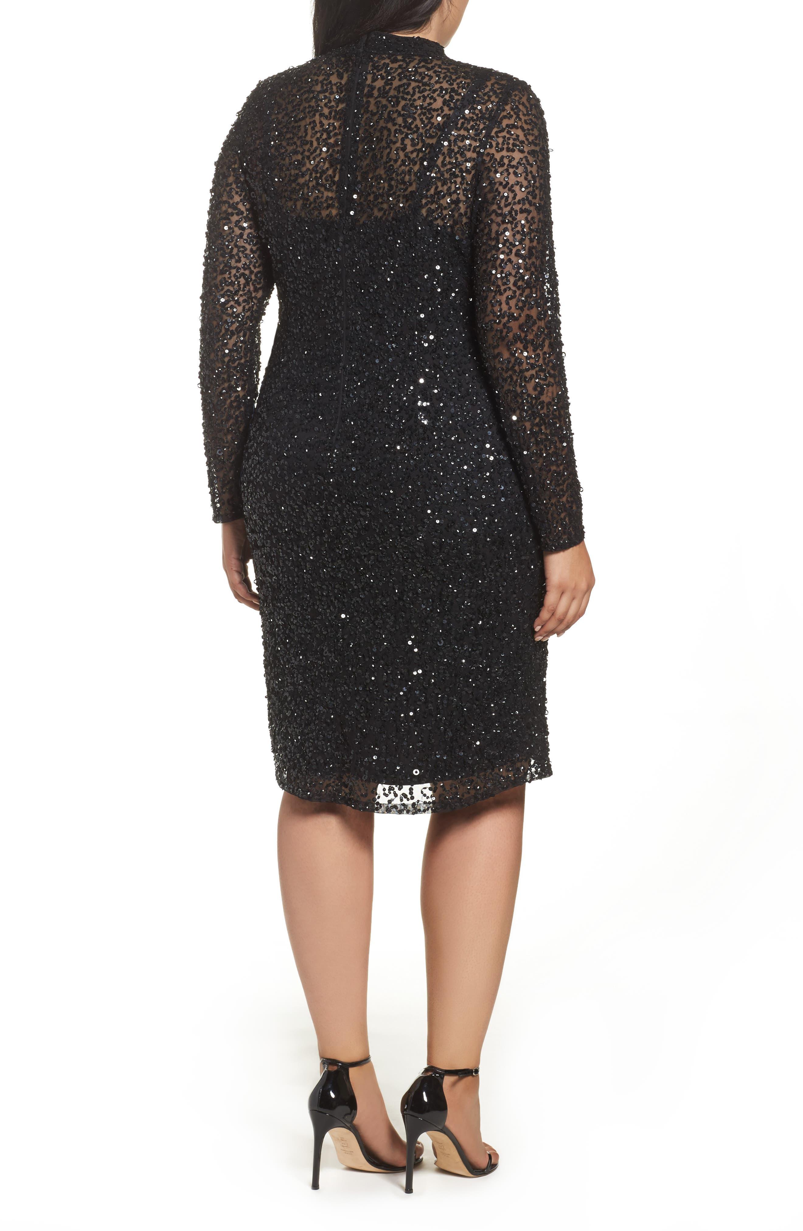 Mock Neck Sequin Sheath Dress,                             Alternate thumbnail 2, color,                             002