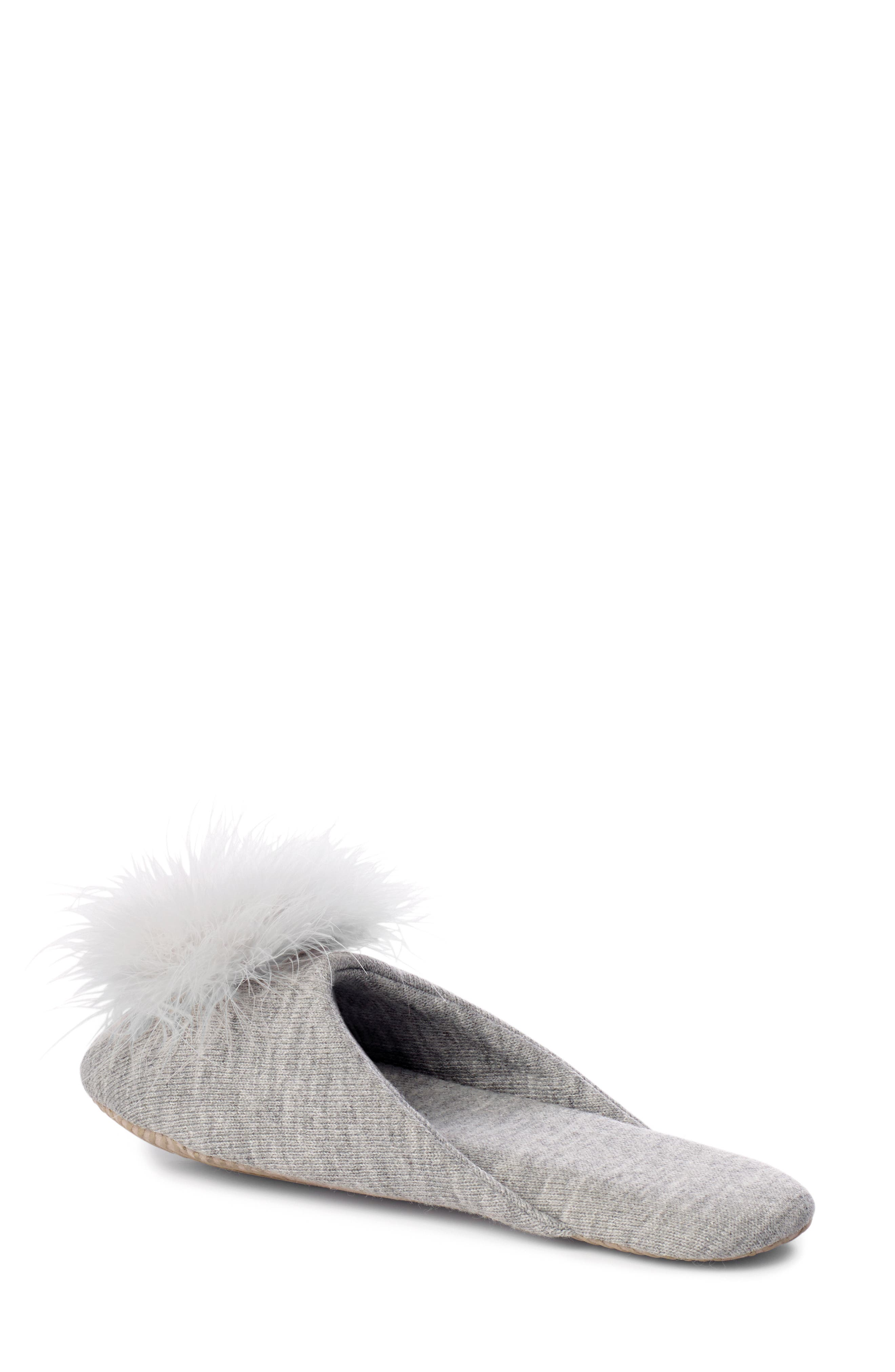 Feather Pompom Mule Slipper,                             Alternate thumbnail 2, color,                             PALE GREY HEATHER