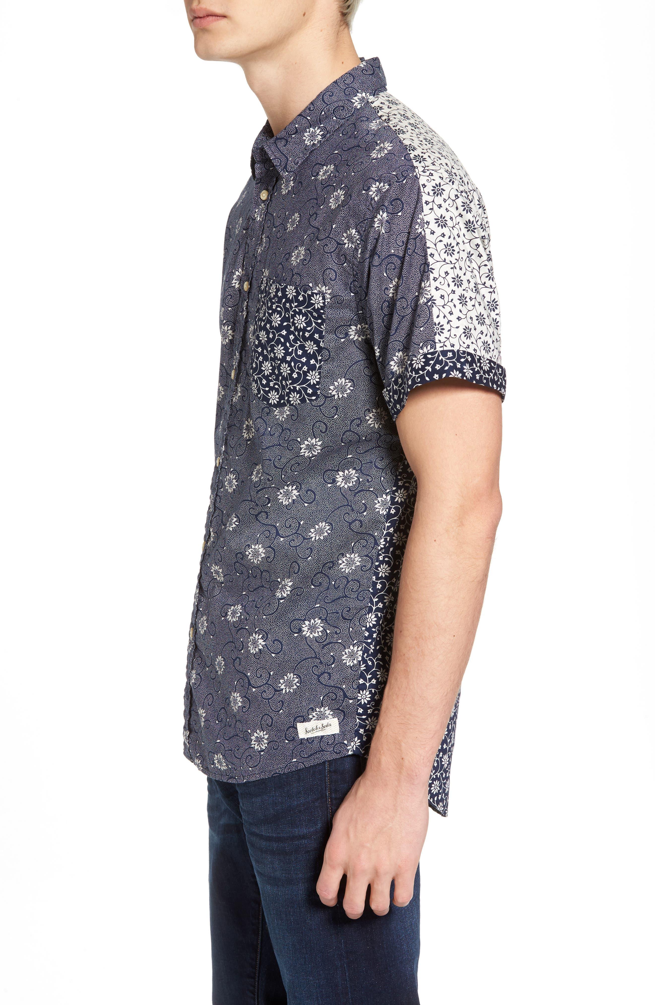 Mix & Match Print Woven Shirt,                             Alternate thumbnail 3, color,                             410