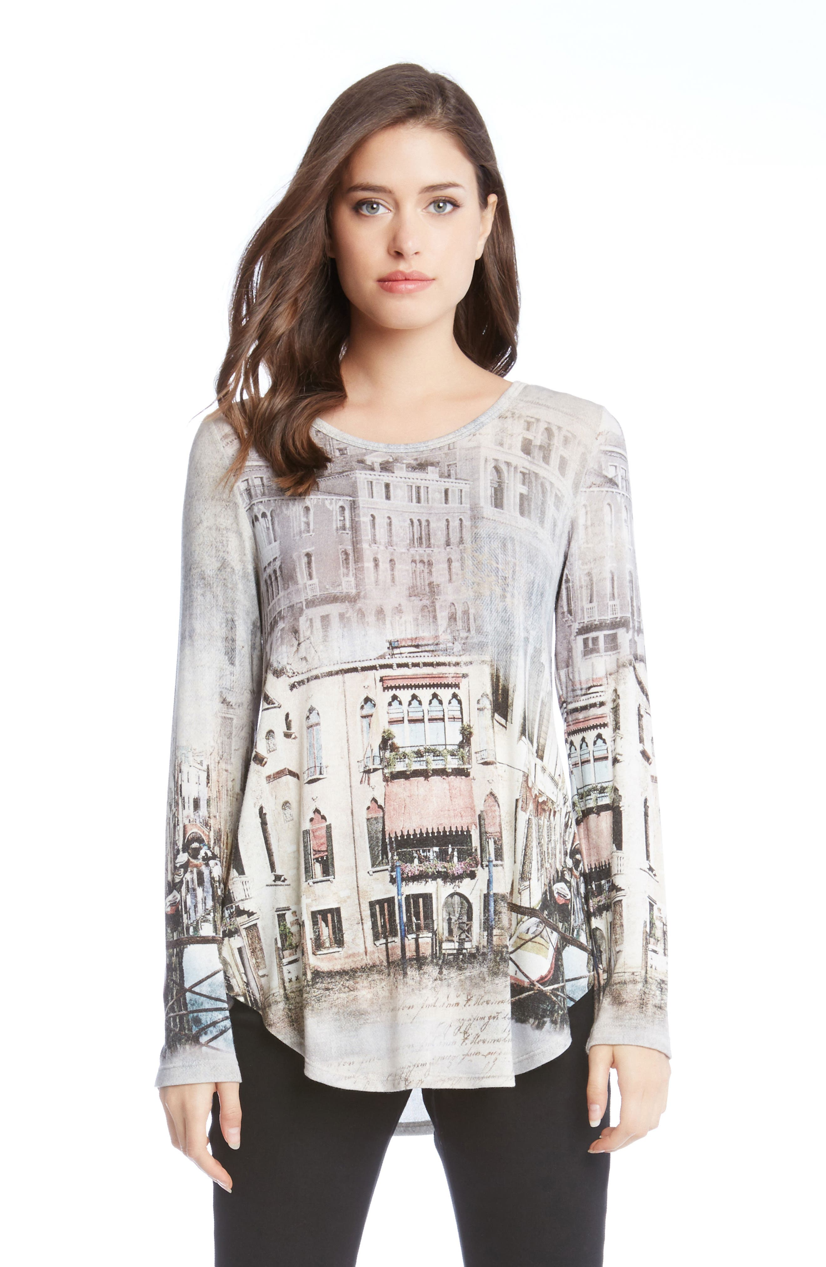 Venice Canal Shirttail Tee,                             Alternate thumbnail 3, color,                             260