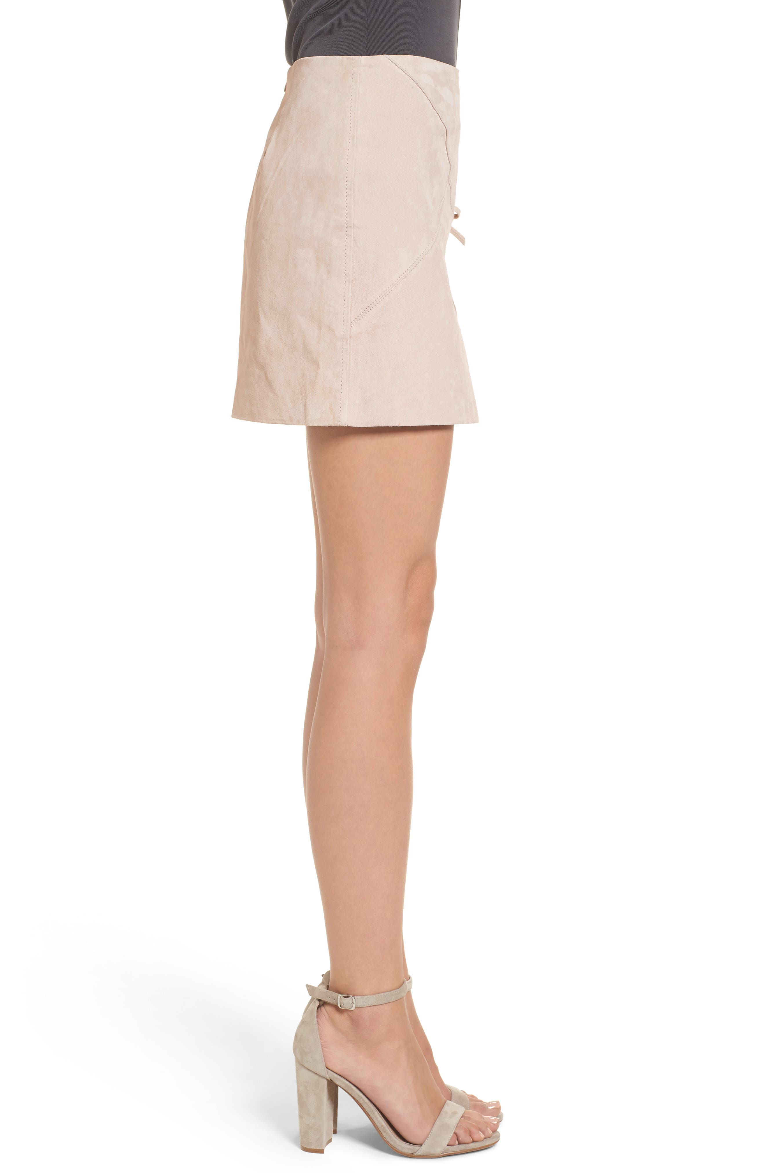 Lace-Up Suede Miniskirt,                             Alternate thumbnail 3, color,                             250