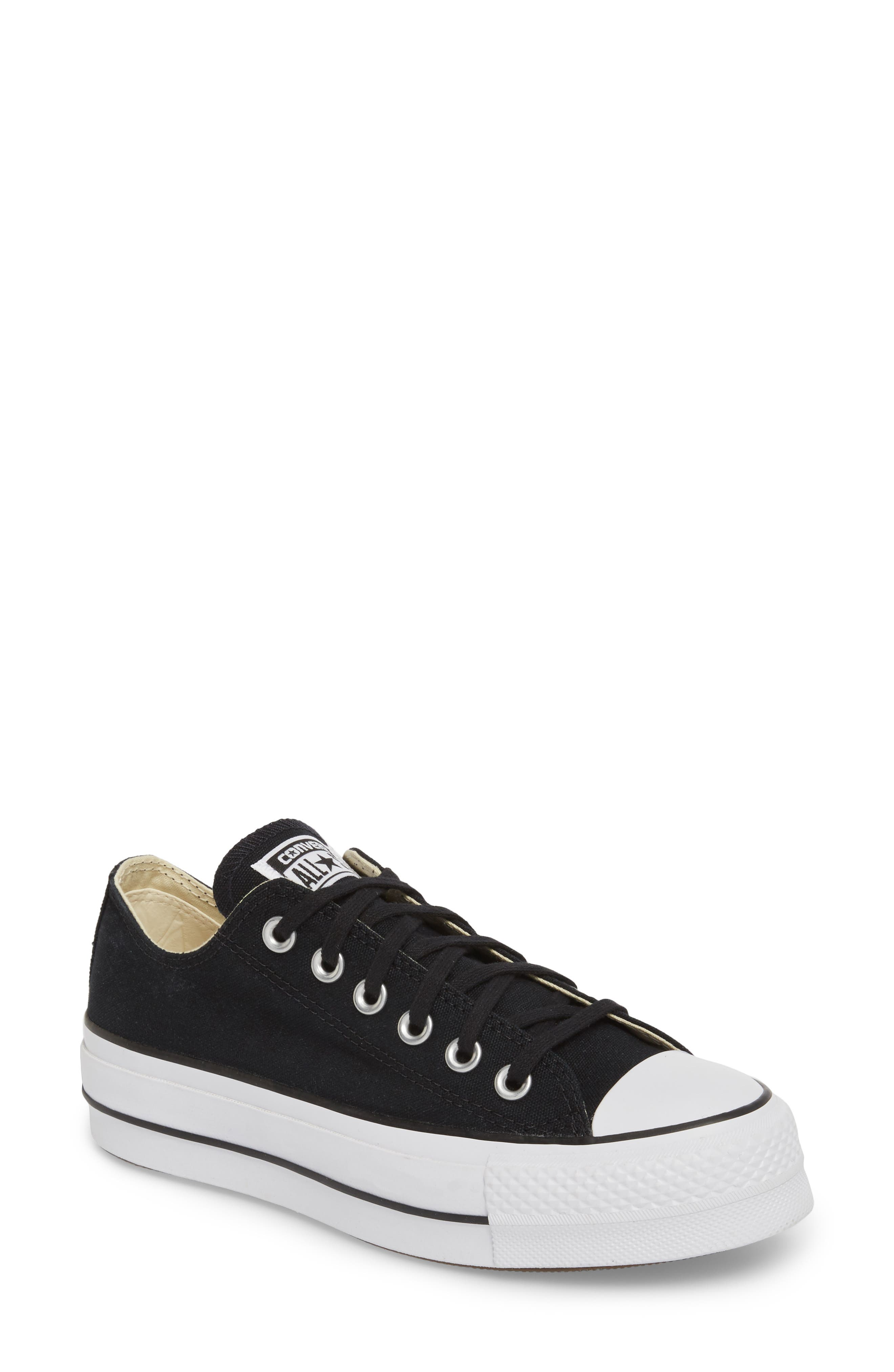 Chuck Taylor<sup>®</sup> All Star<sup>®</sup> Platform Sneaker,                             Main thumbnail 1, color,                             BLACK/ WHITE/ WHITE