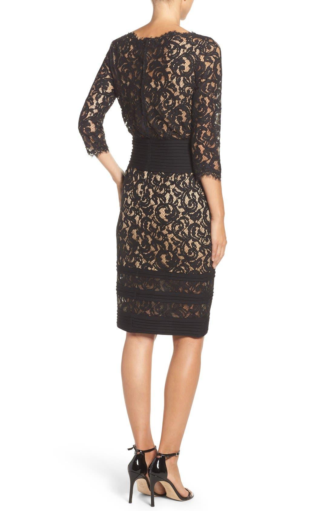Pleat Waist Lace Blouson Dress,                             Alternate thumbnail 2, color,                             004