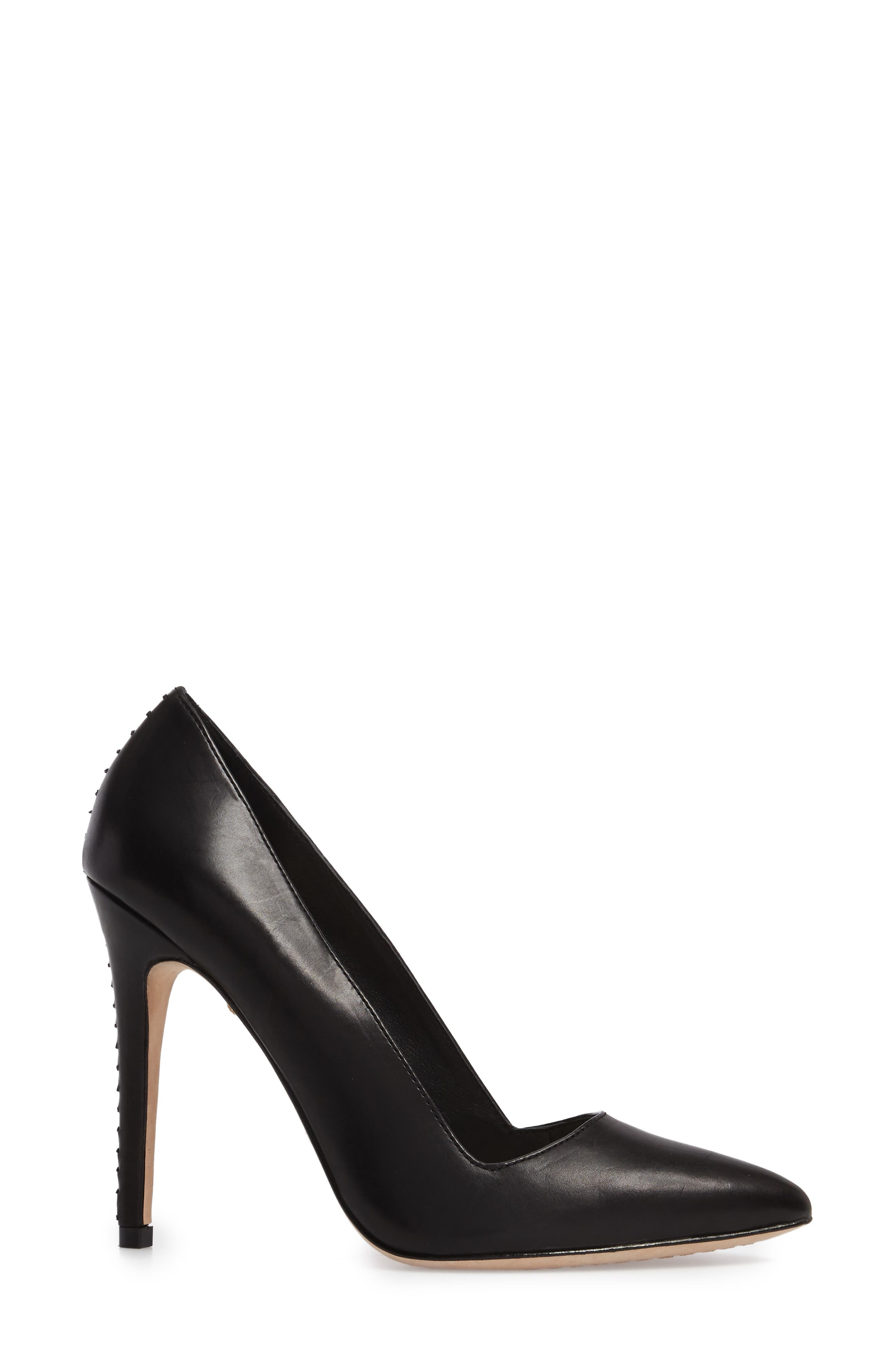 Dina 95 Whipstitch Pointy Toe Pump,                             Alternate thumbnail 3, color,                             BLACK
