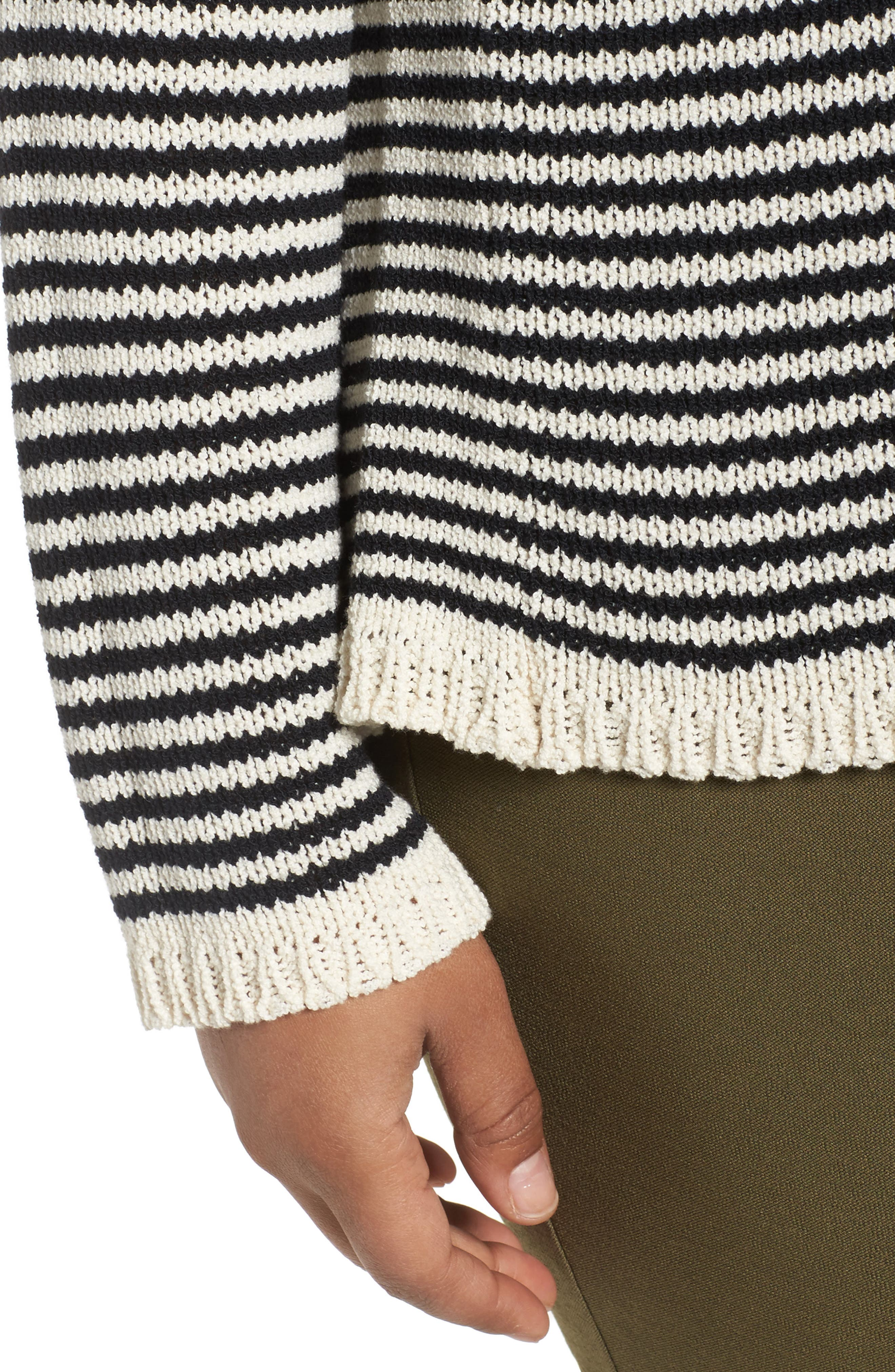 Stripe Cotton Blend Knit Top,                             Alternate thumbnail 4, color,                             001