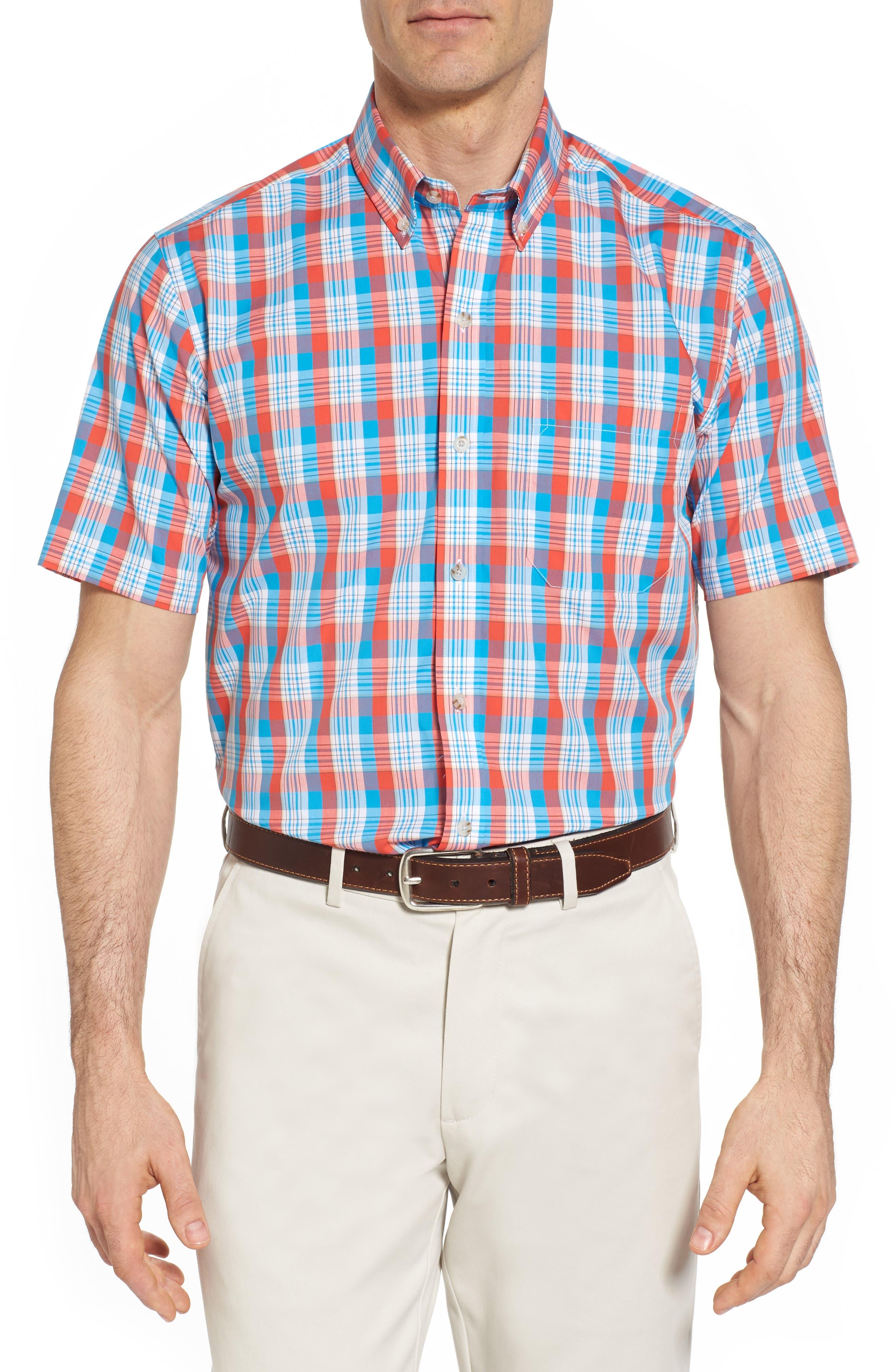Martin Classic Fit Non-Iron Plaid Sport Shirt,                             Main thumbnail 1, color,