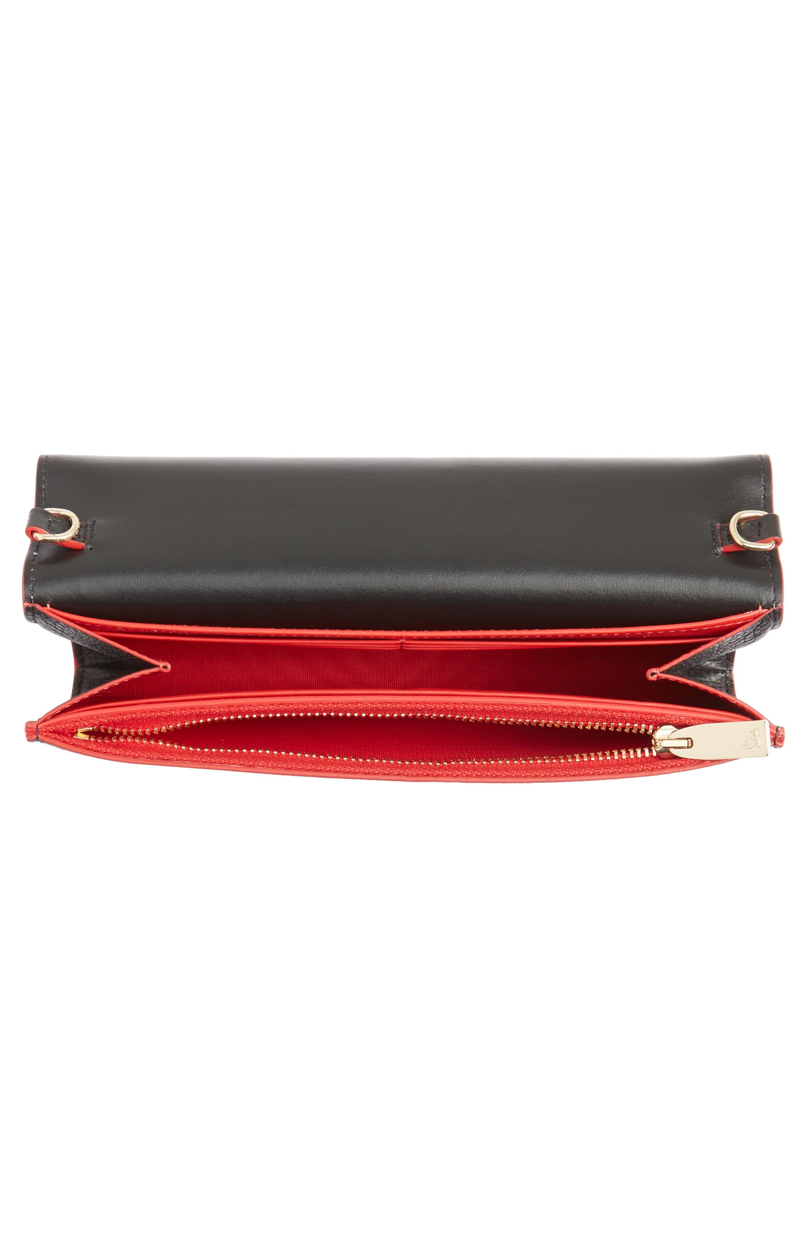 Boudoir Calfskin Leather Wallet,                             Alternate thumbnail 4, color,                             BLACK/ GOLD