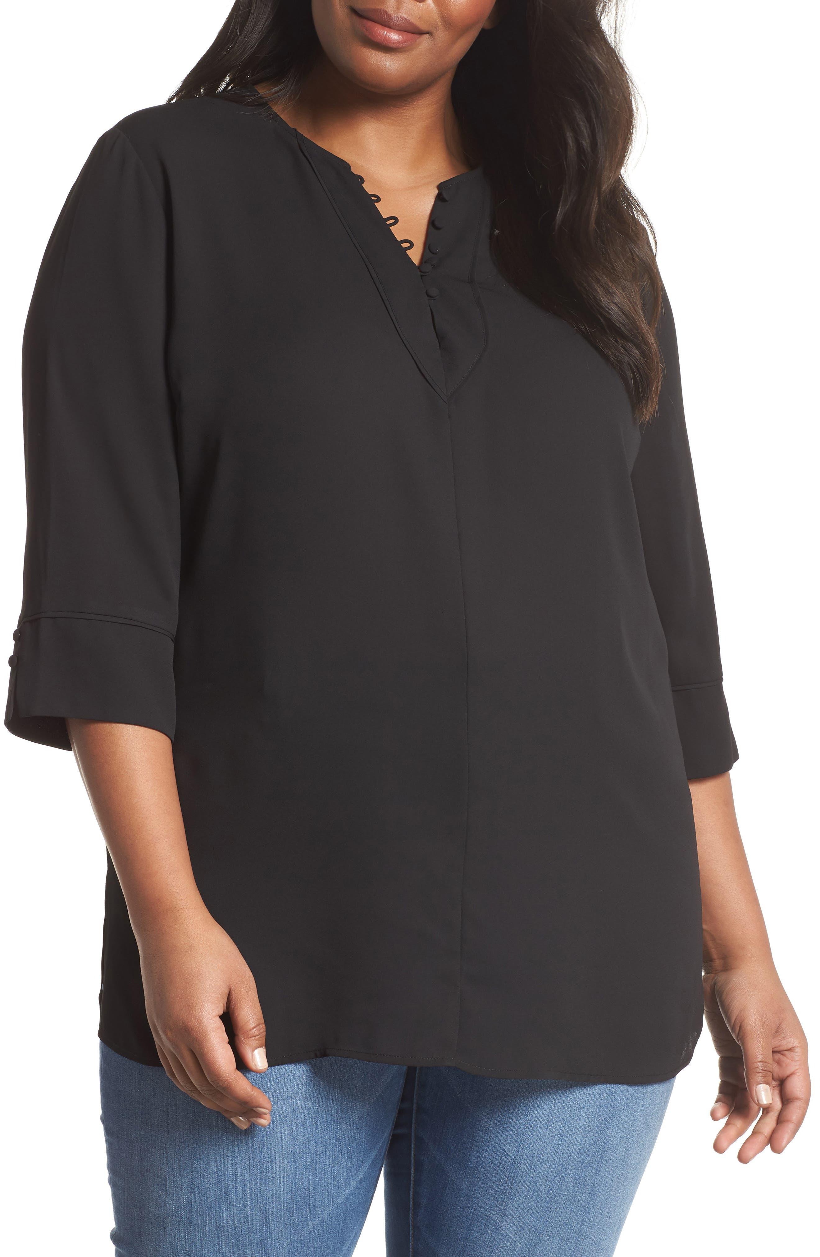 Button Detail Tunic Top,                         Main,                         color, BLACK