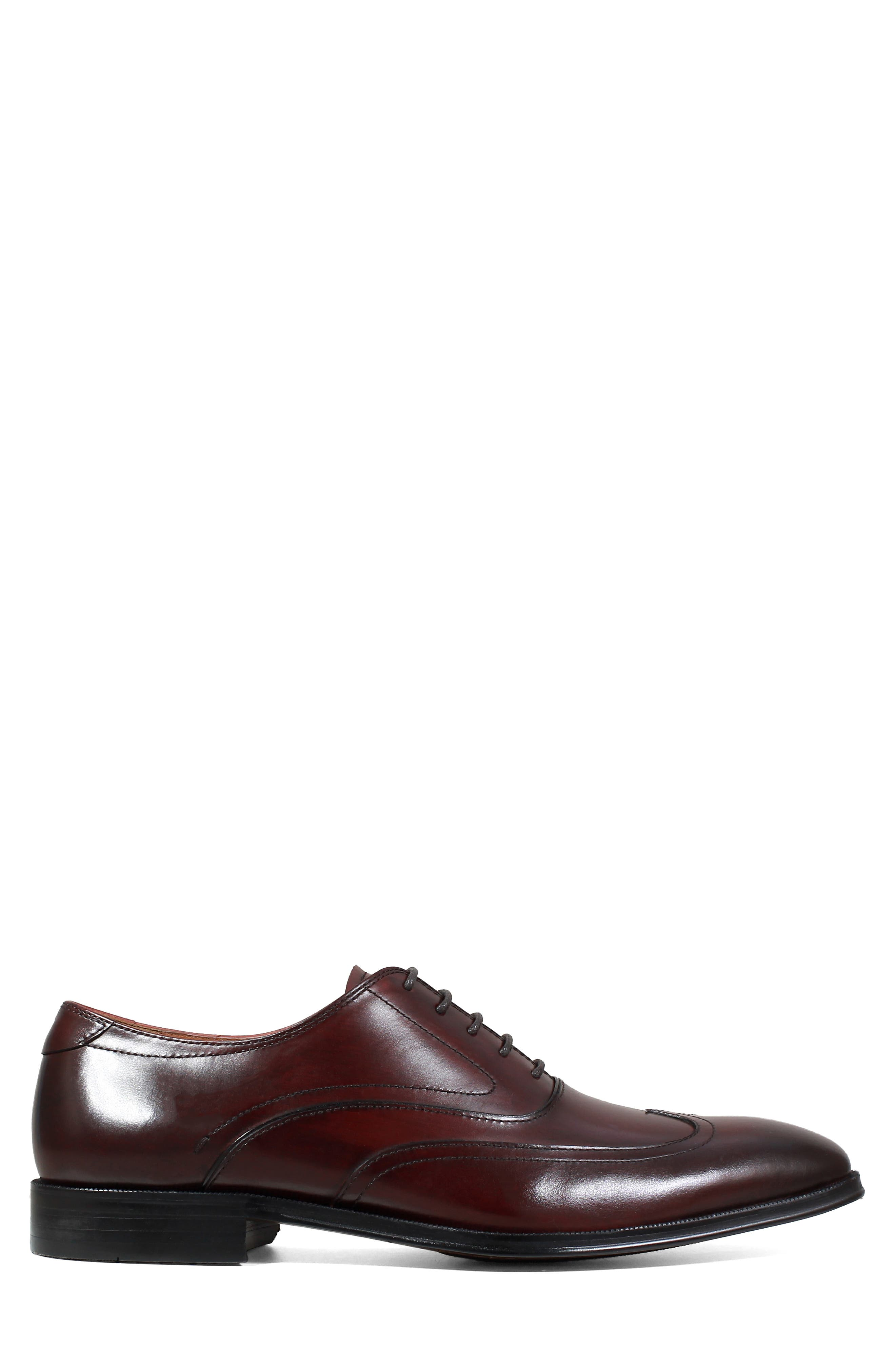 Belfast Wingtip,                             Alternate thumbnail 3, color,                             BURGUNDY LEATHER